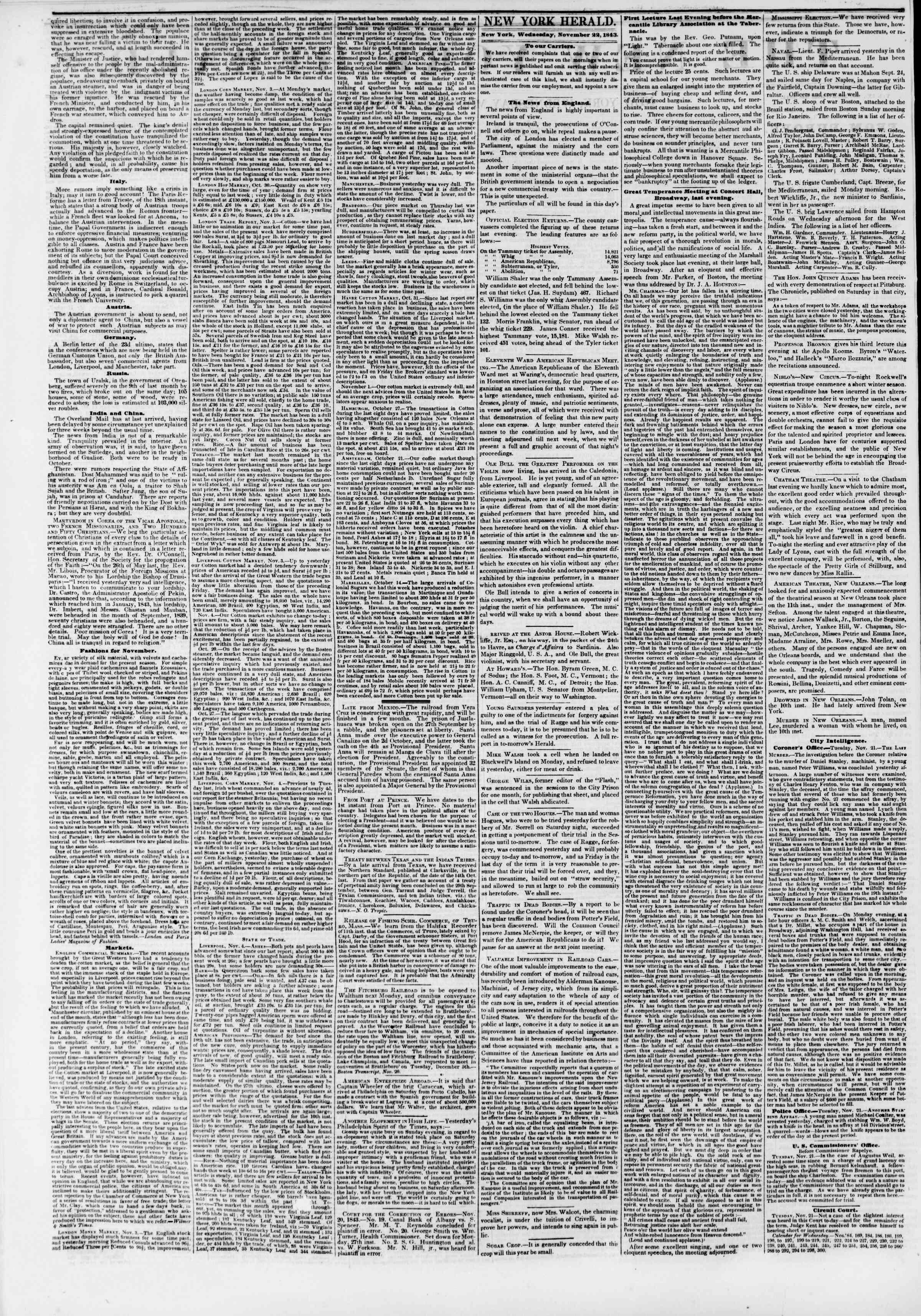 November 22, 1843 Tarihli The New York Herald Gazetesi Sayfa 2