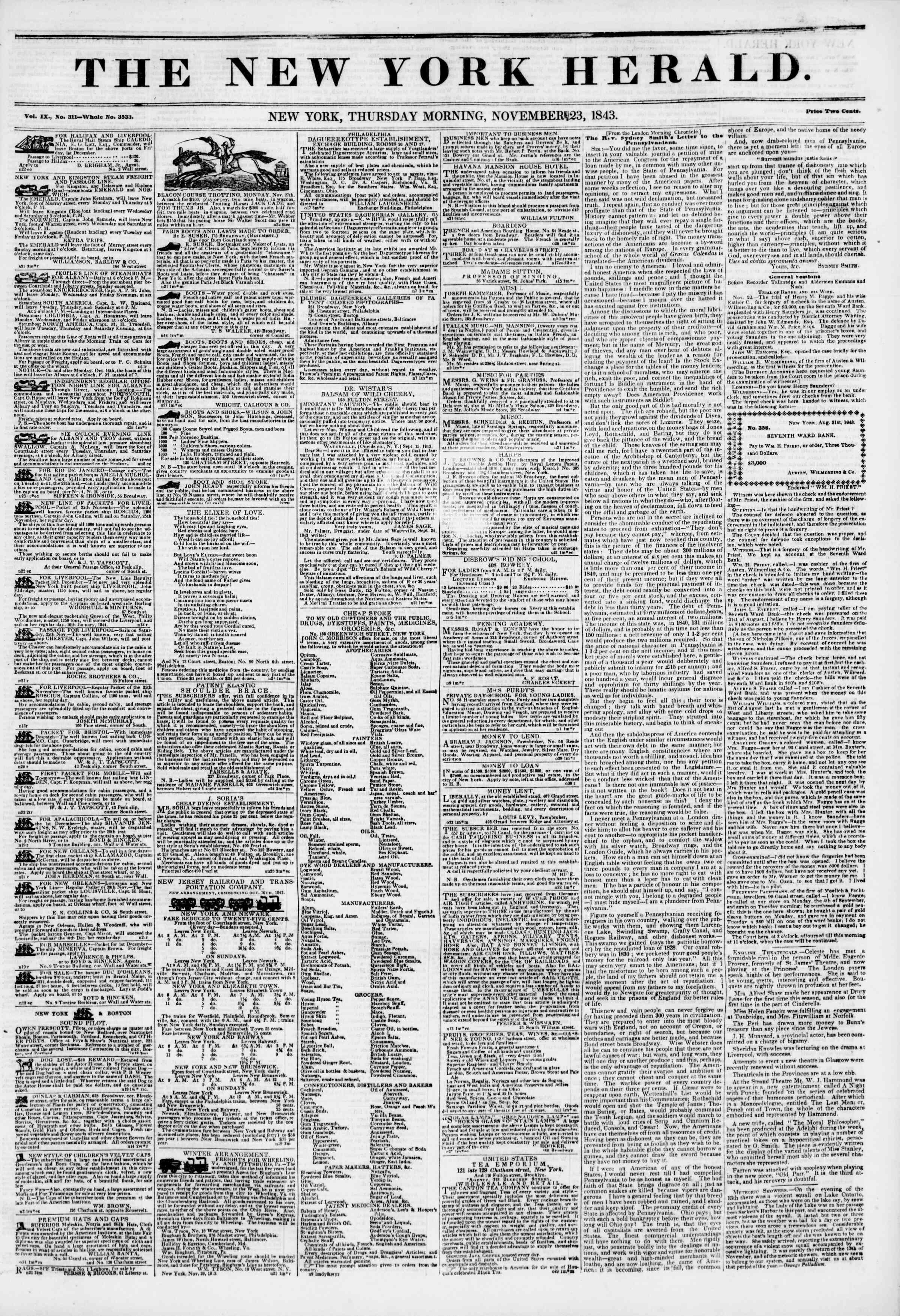 November 23, 1843 Tarihli The New York Herald Gazetesi Sayfa 1