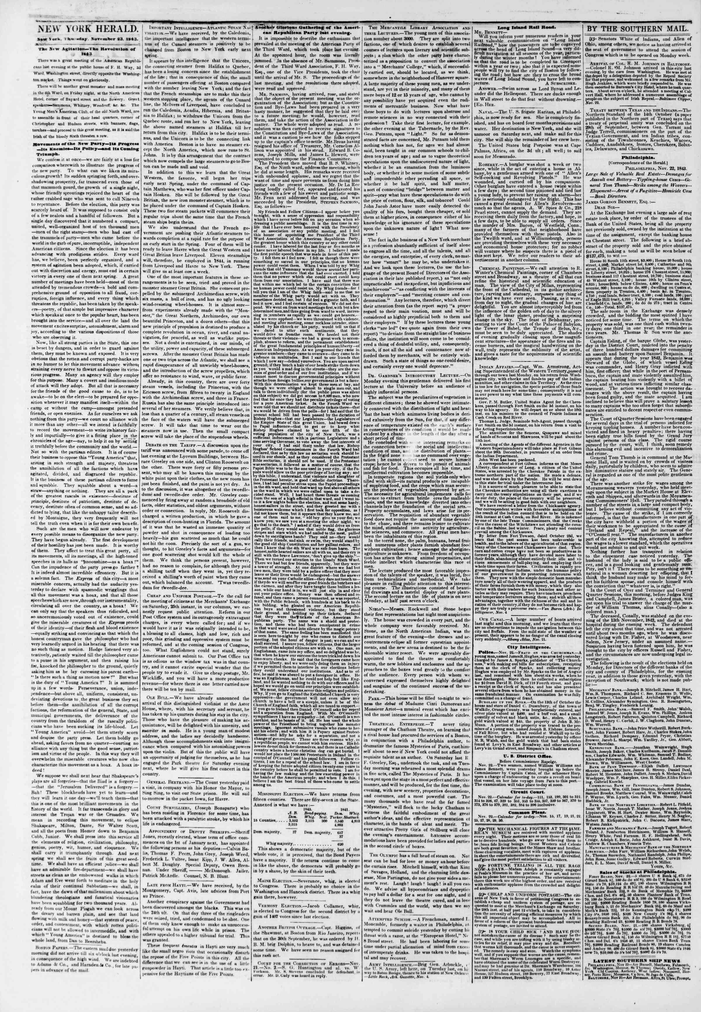 November 23, 1843 Tarihli The New York Herald Gazetesi Sayfa 2
