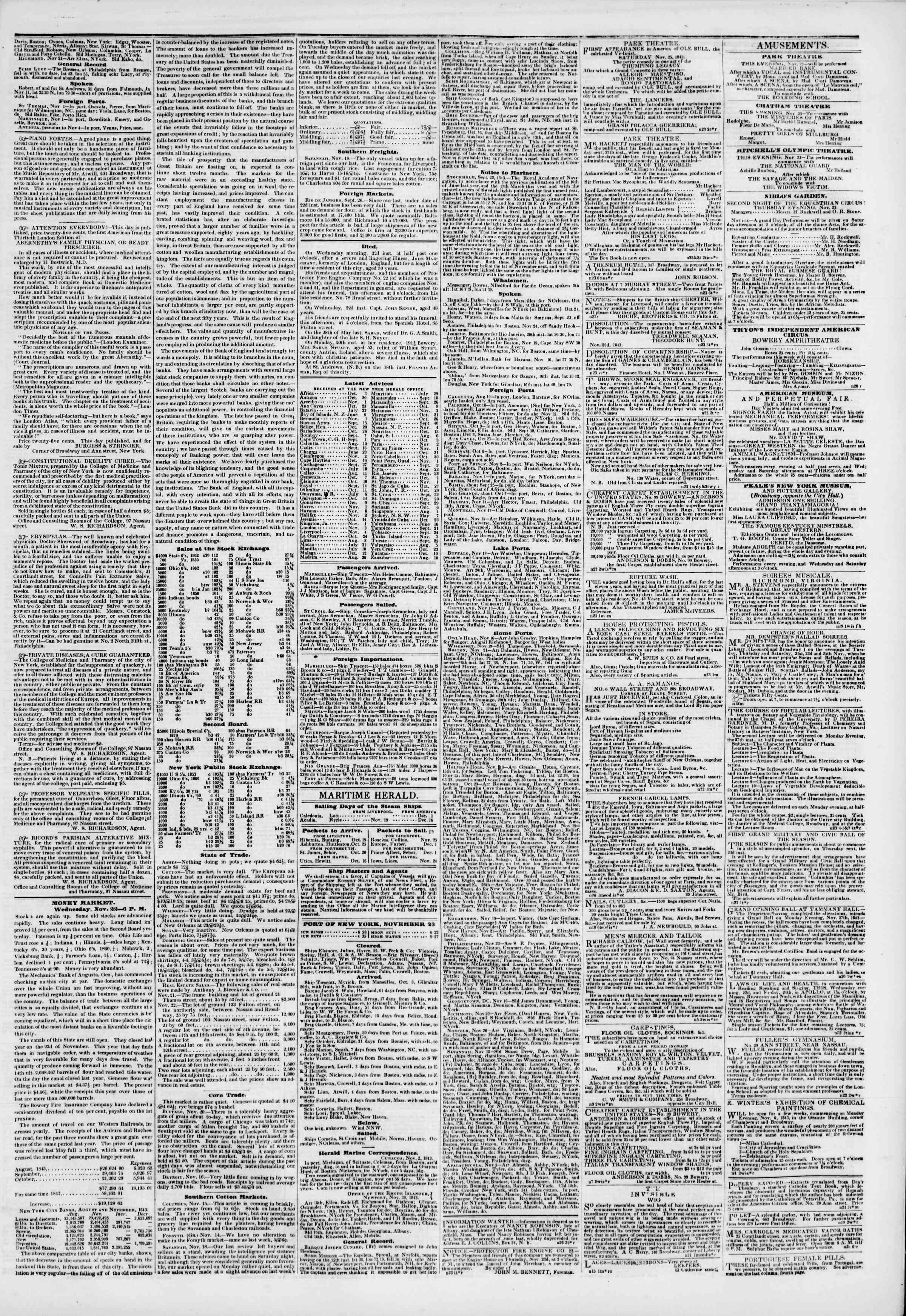 Newspaper of The New York Herald dated November 23, 1843 Page 3