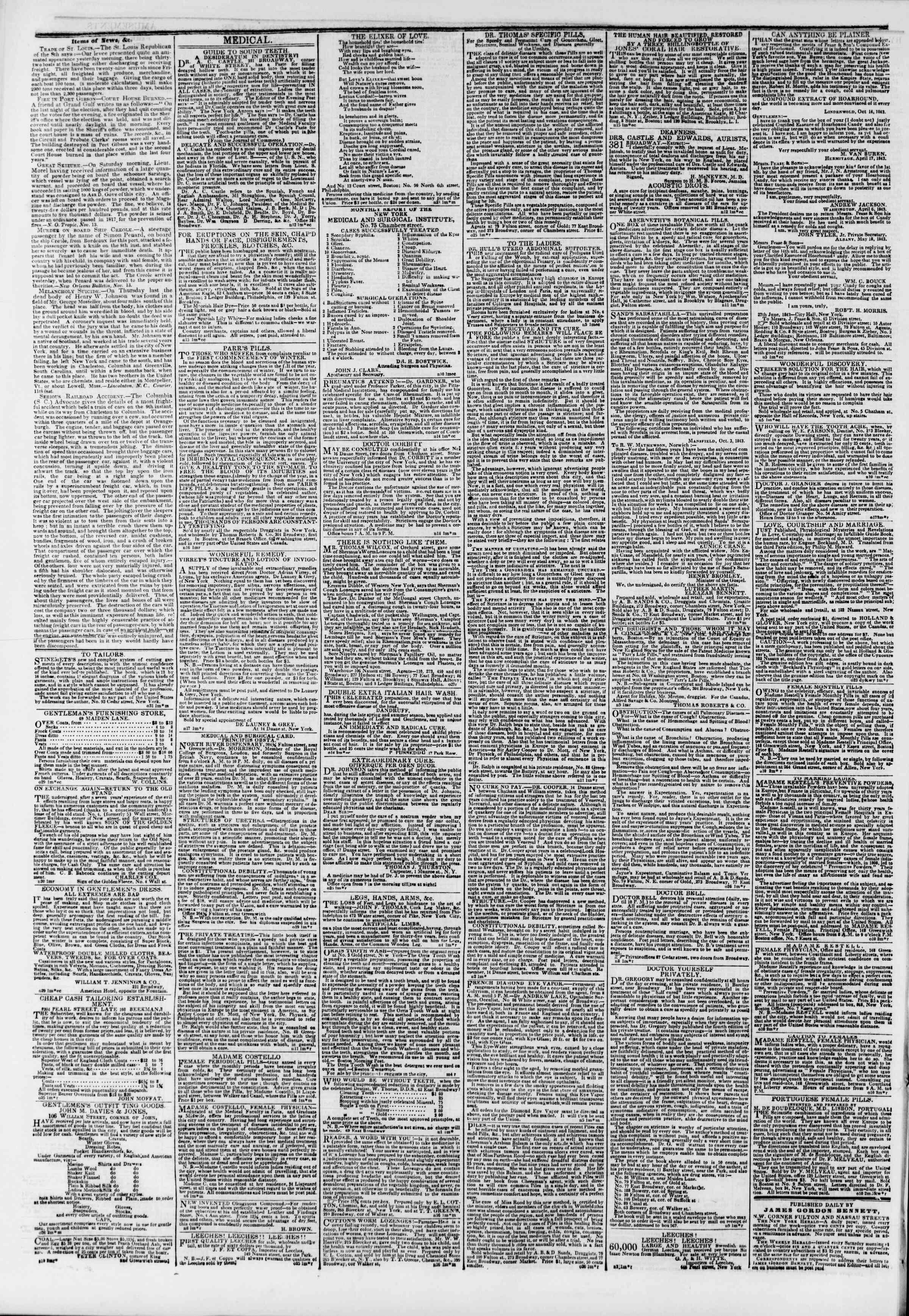 November 24, 1843 Tarihli The New York Herald Gazetesi Sayfa 4