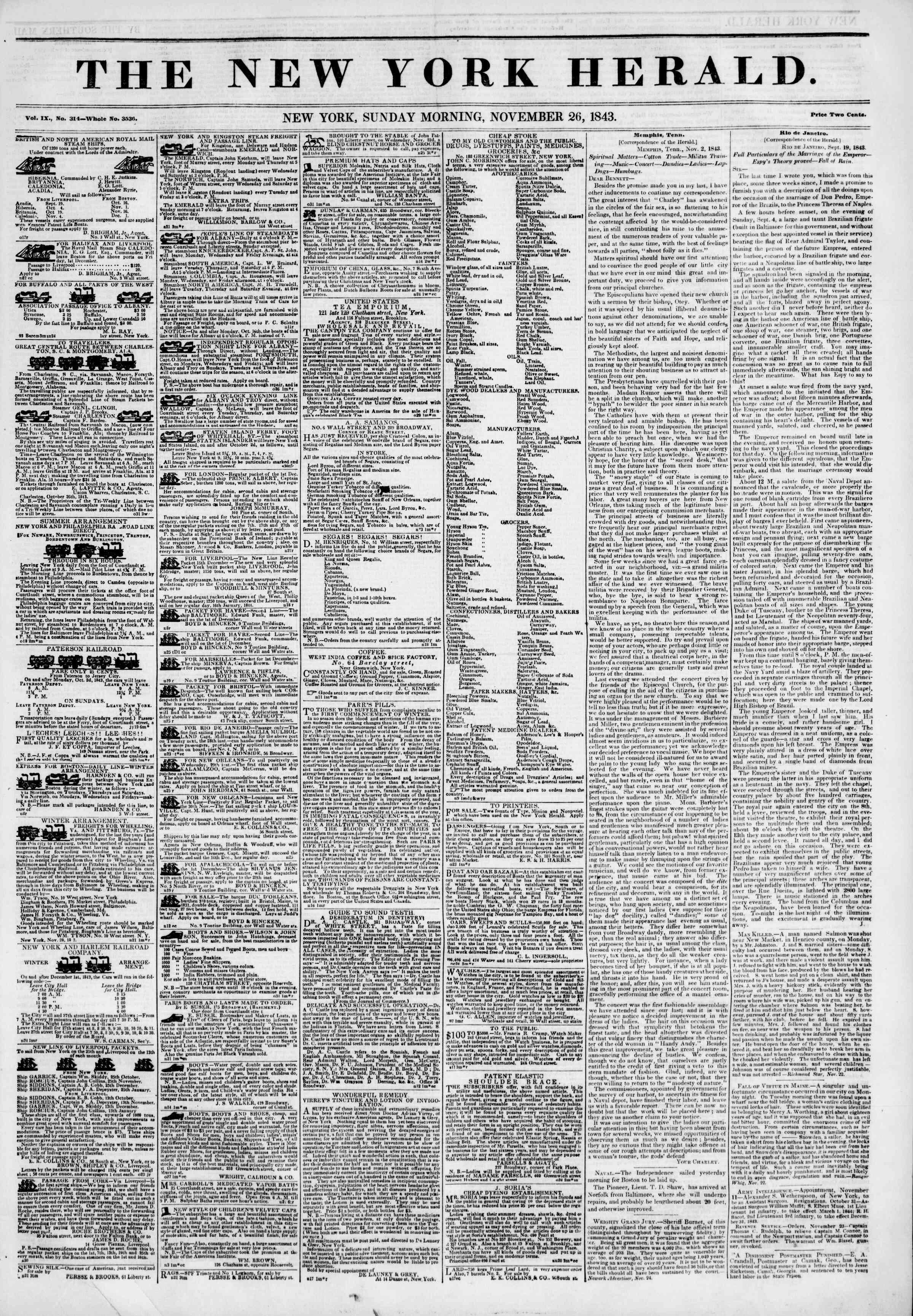 November 26, 1843 Tarihli The New York Herald Gazetesi Sayfa 1