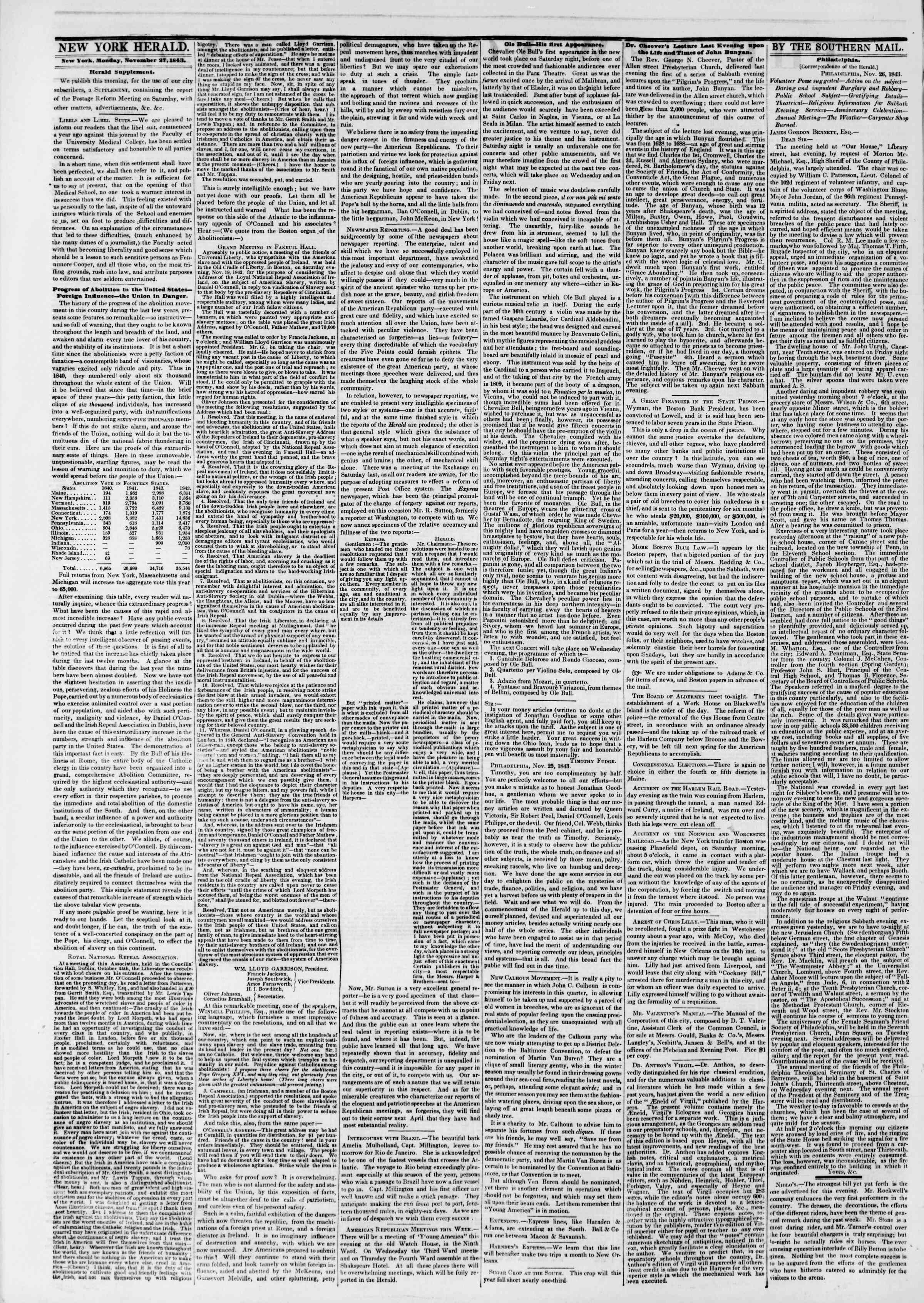 November 27, 1843 Tarihli The New York Herald Gazetesi Sayfa 2