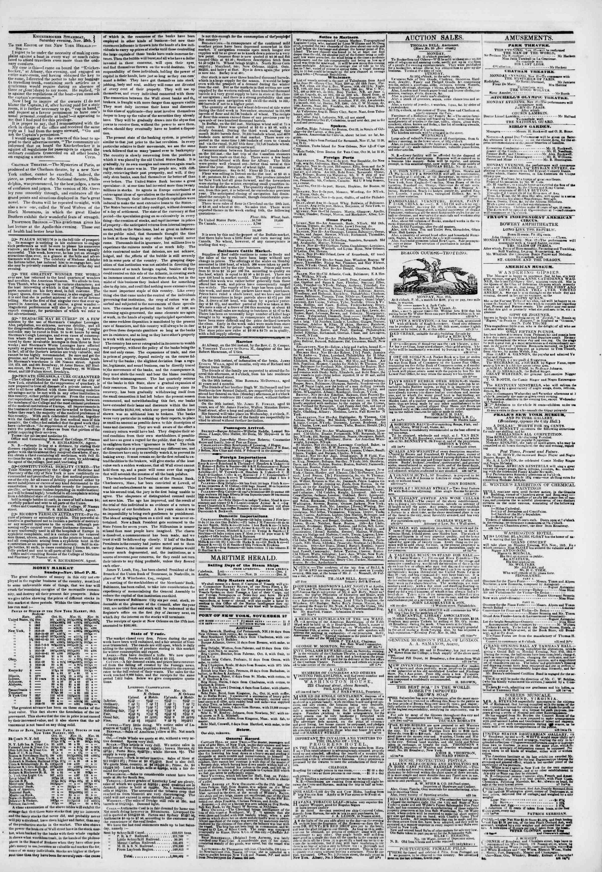 November 27, 1843 Tarihli The New York Herald Gazetesi Sayfa 3