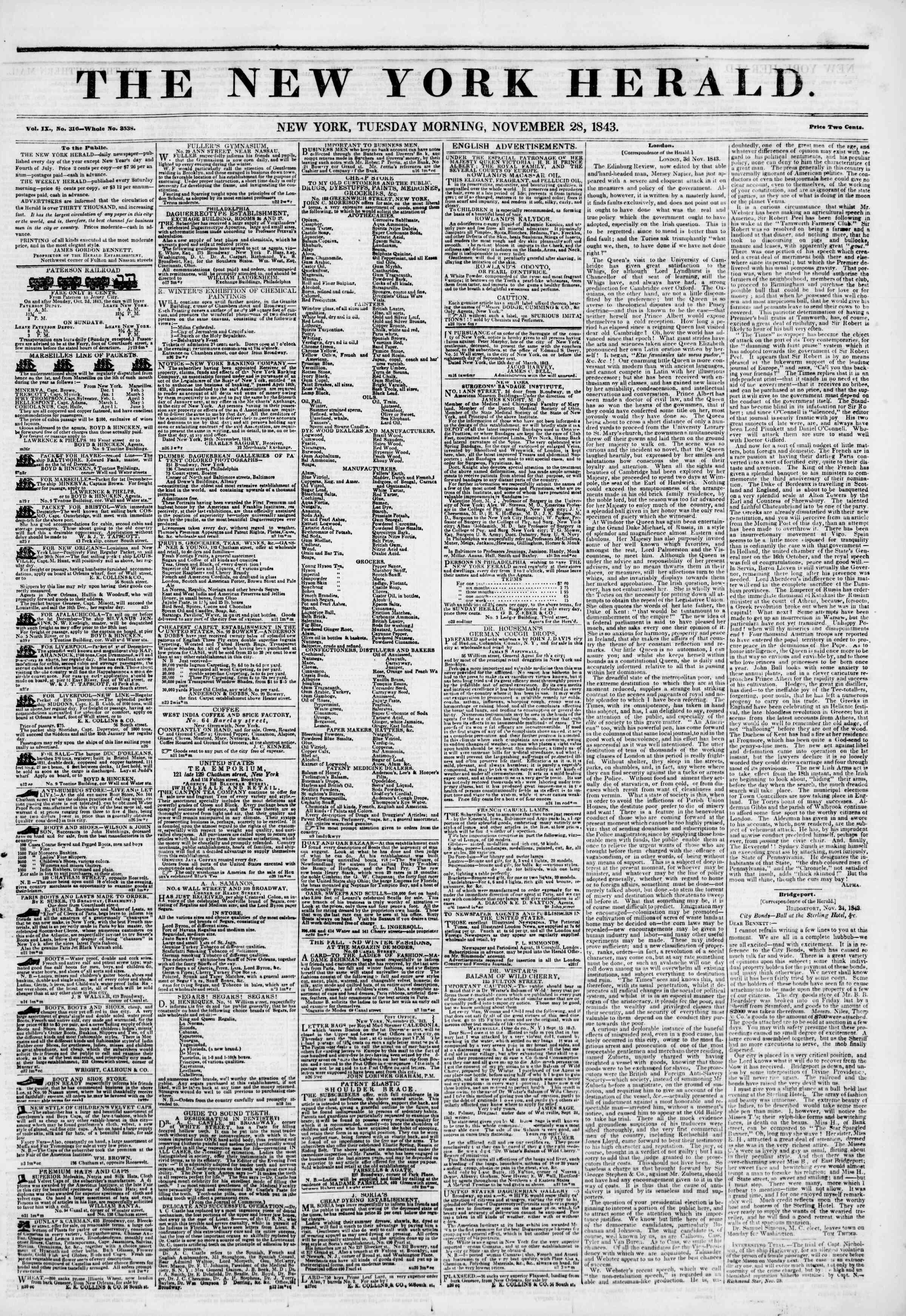 November 28, 1843 Tarihli The New York Herald Gazetesi Sayfa 1