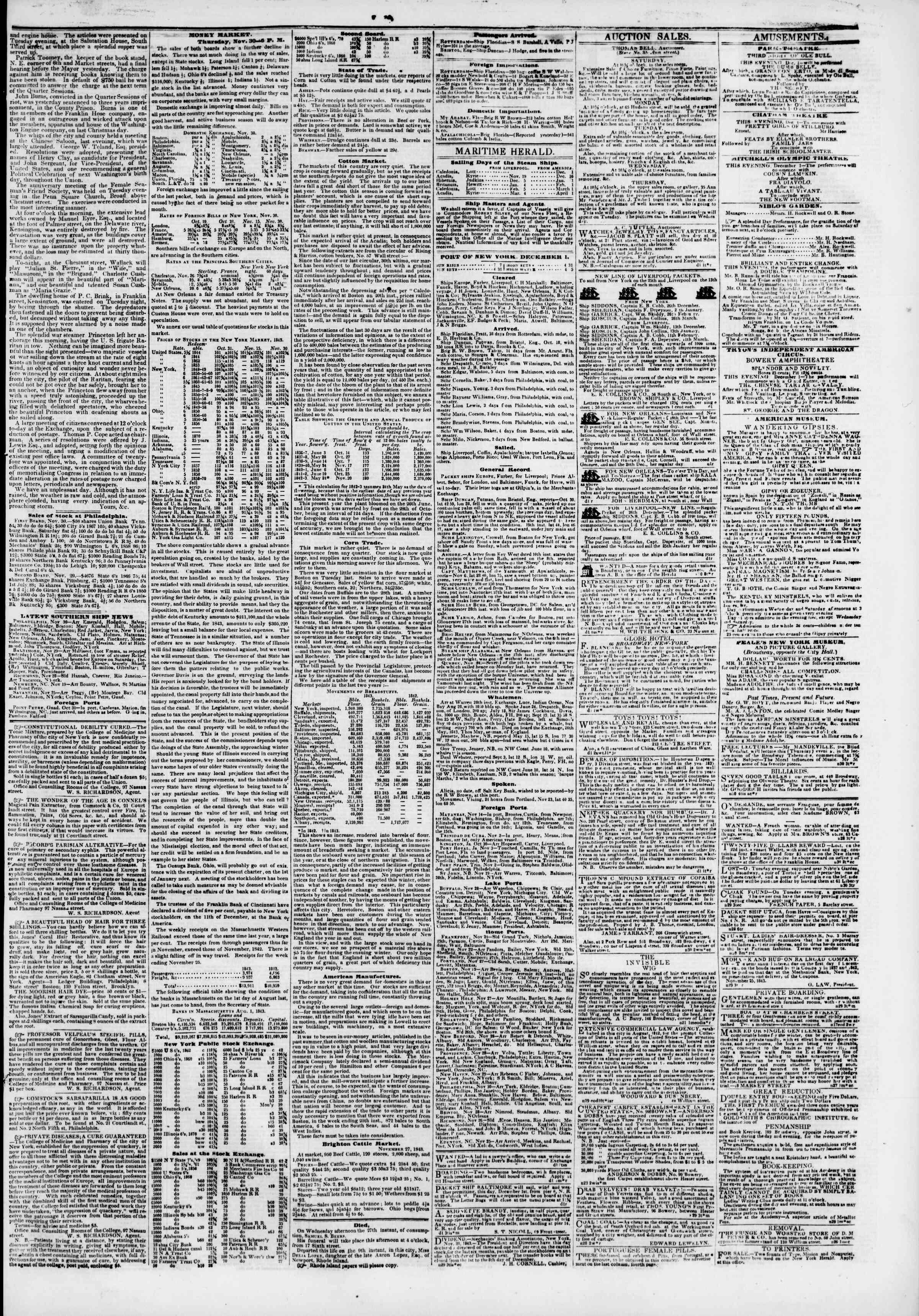 December 1, 1843 Tarihli The New York Herald Gazetesi Sayfa 3