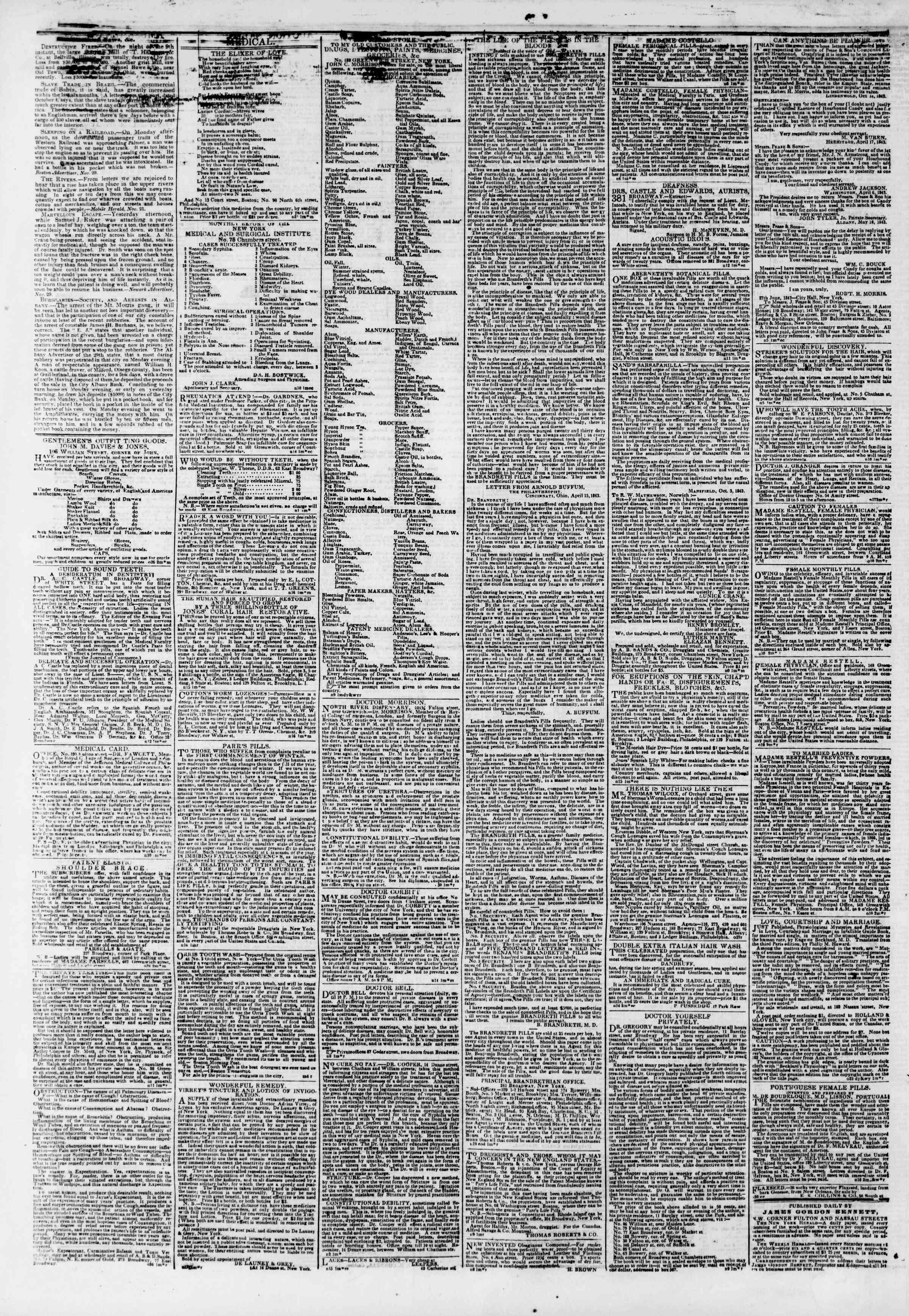 December 1, 1843 Tarihli The New York Herald Gazetesi Sayfa 4