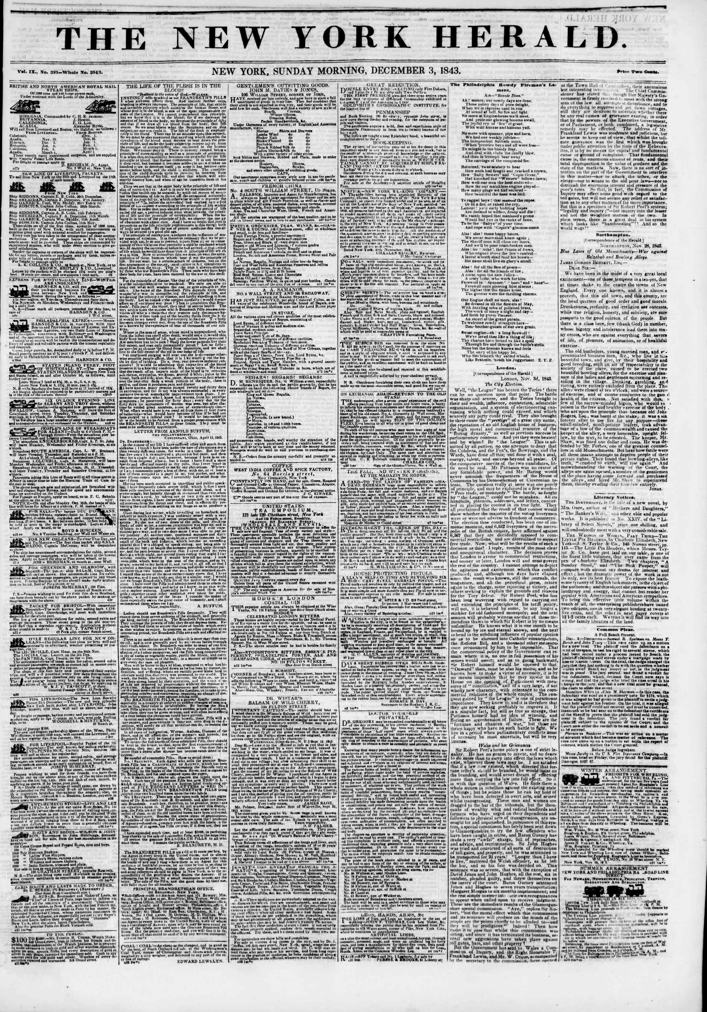Newspaper of The New York Herald dated December 3, 1843 Page 1
