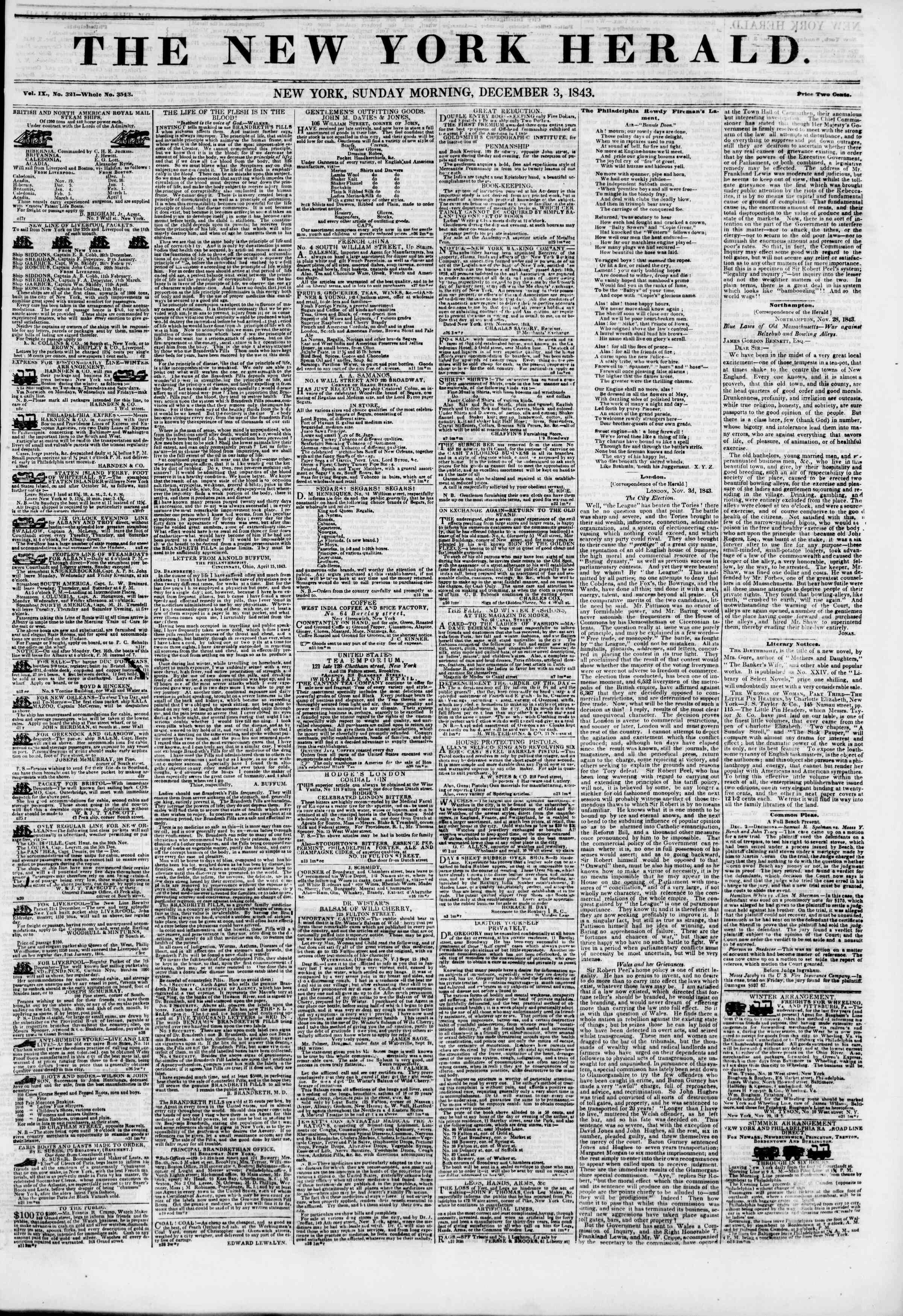 December 3, 1843 Tarihli The New York Herald Gazetesi Sayfa 2