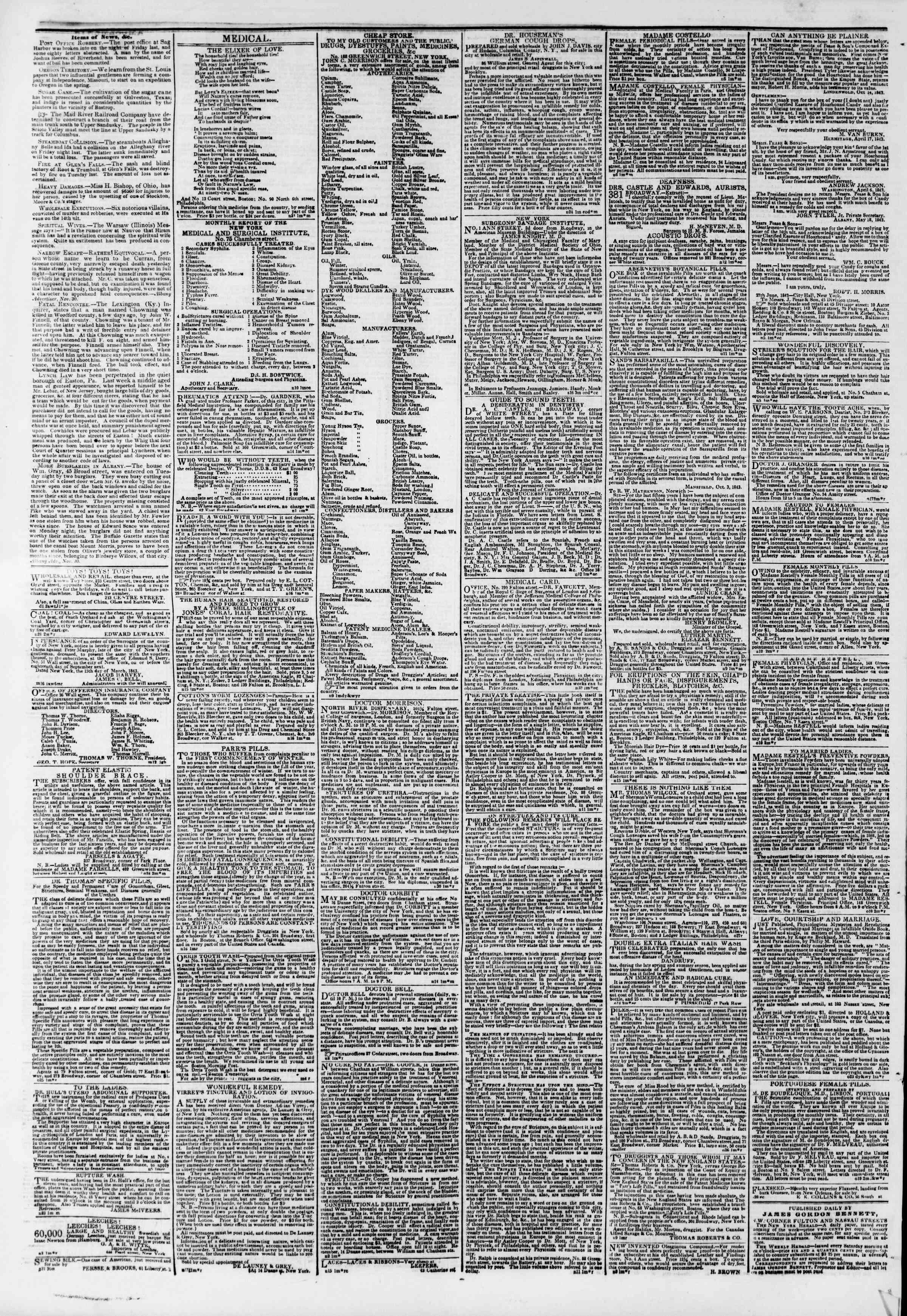 December 3, 1843 Tarihli The New York Herald Gazetesi Sayfa 3