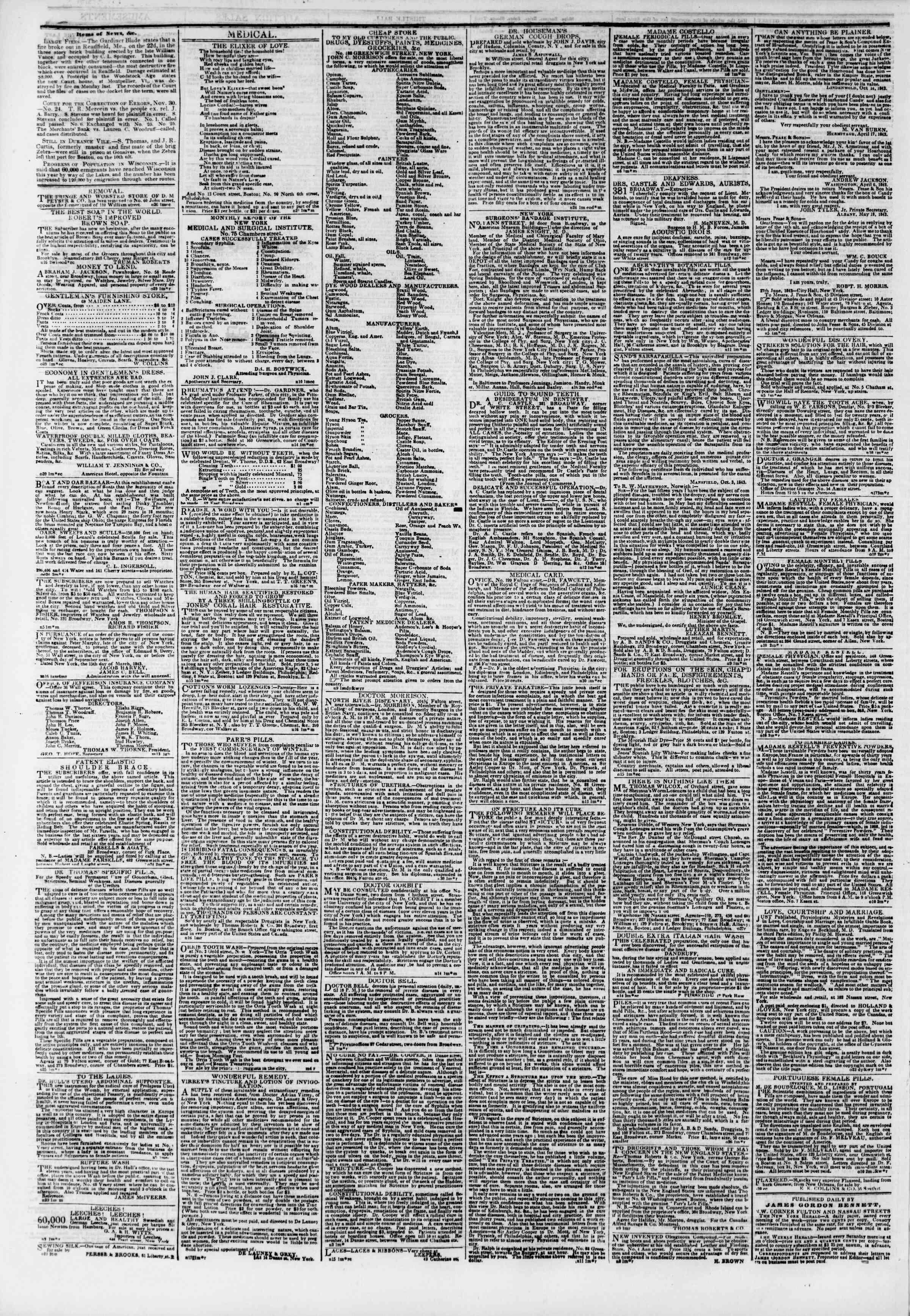 December 3, 1843 Tarihli The New York Herald Gazetesi Sayfa 4