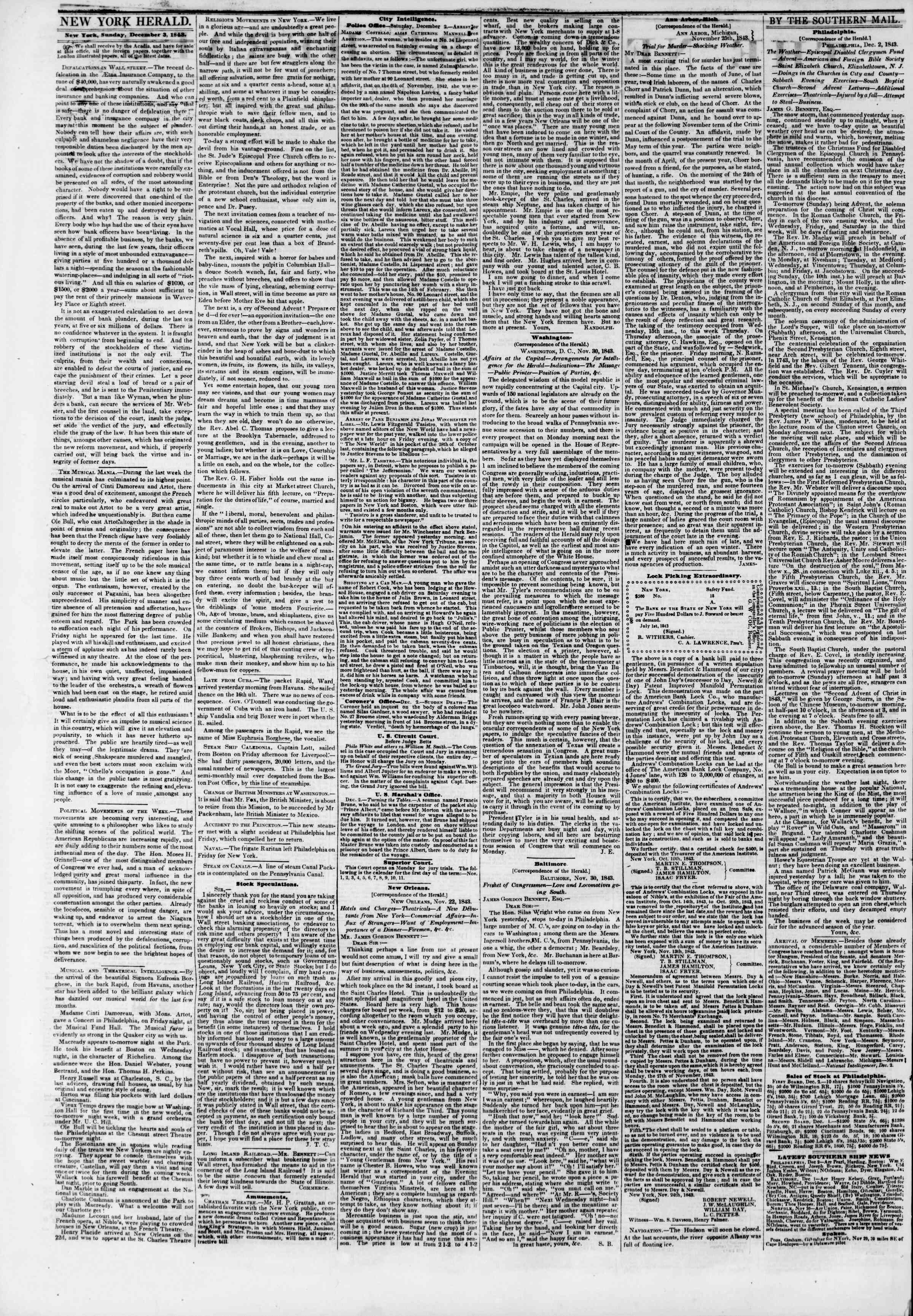 Newspaper of The New York Herald dated December 3, 1843 Page 5