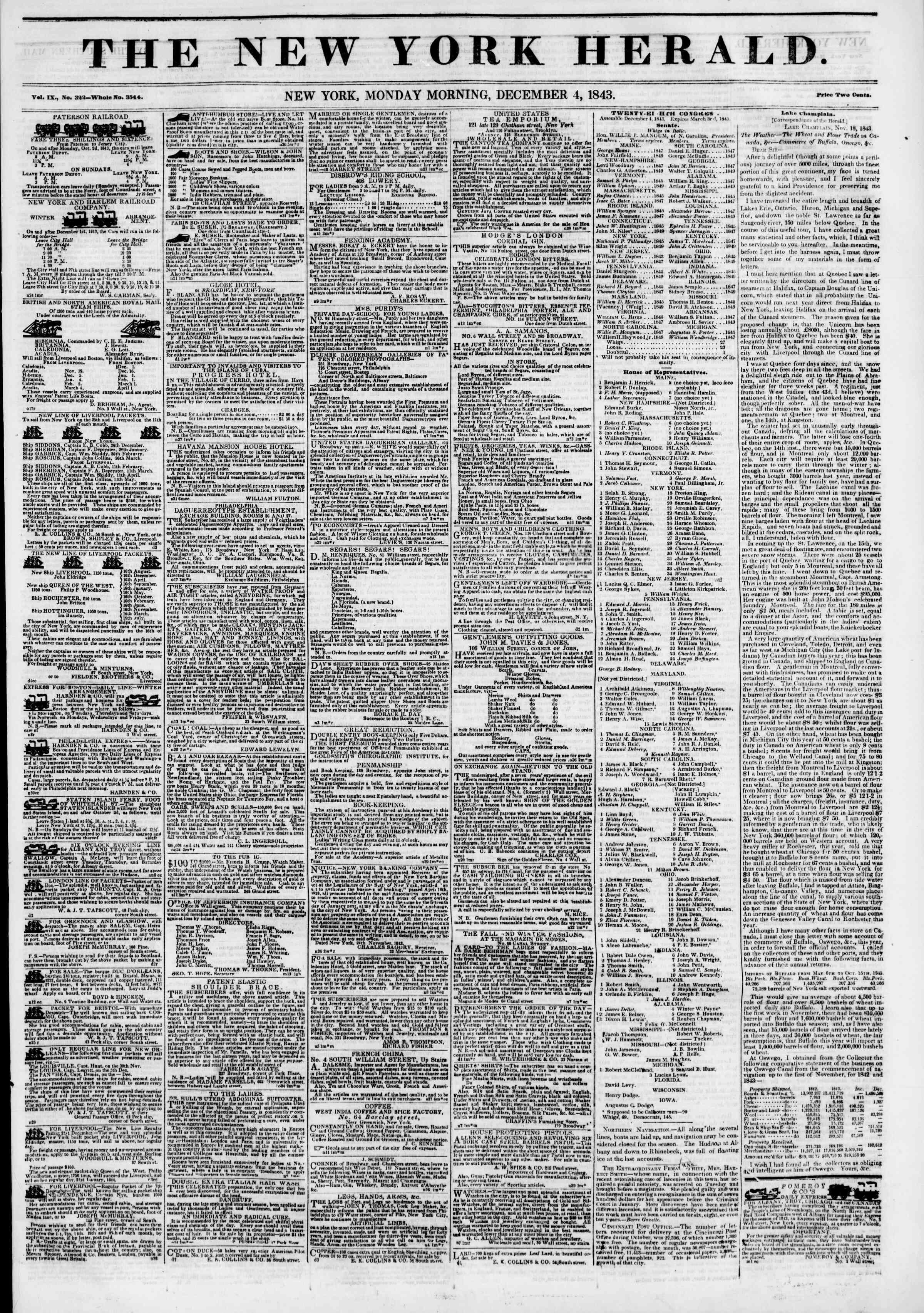 December 4, 1843 Tarihli The New York Herald Gazetesi Sayfa 1