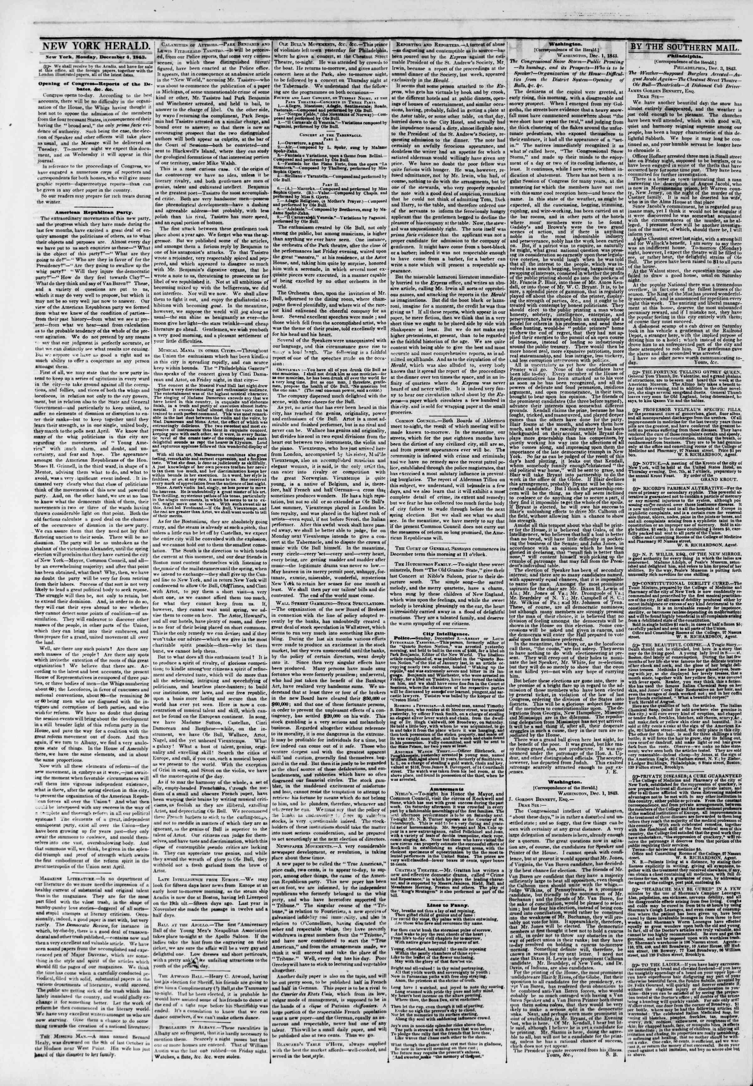 December 4, 1843 Tarihli The New York Herald Gazetesi Sayfa 2