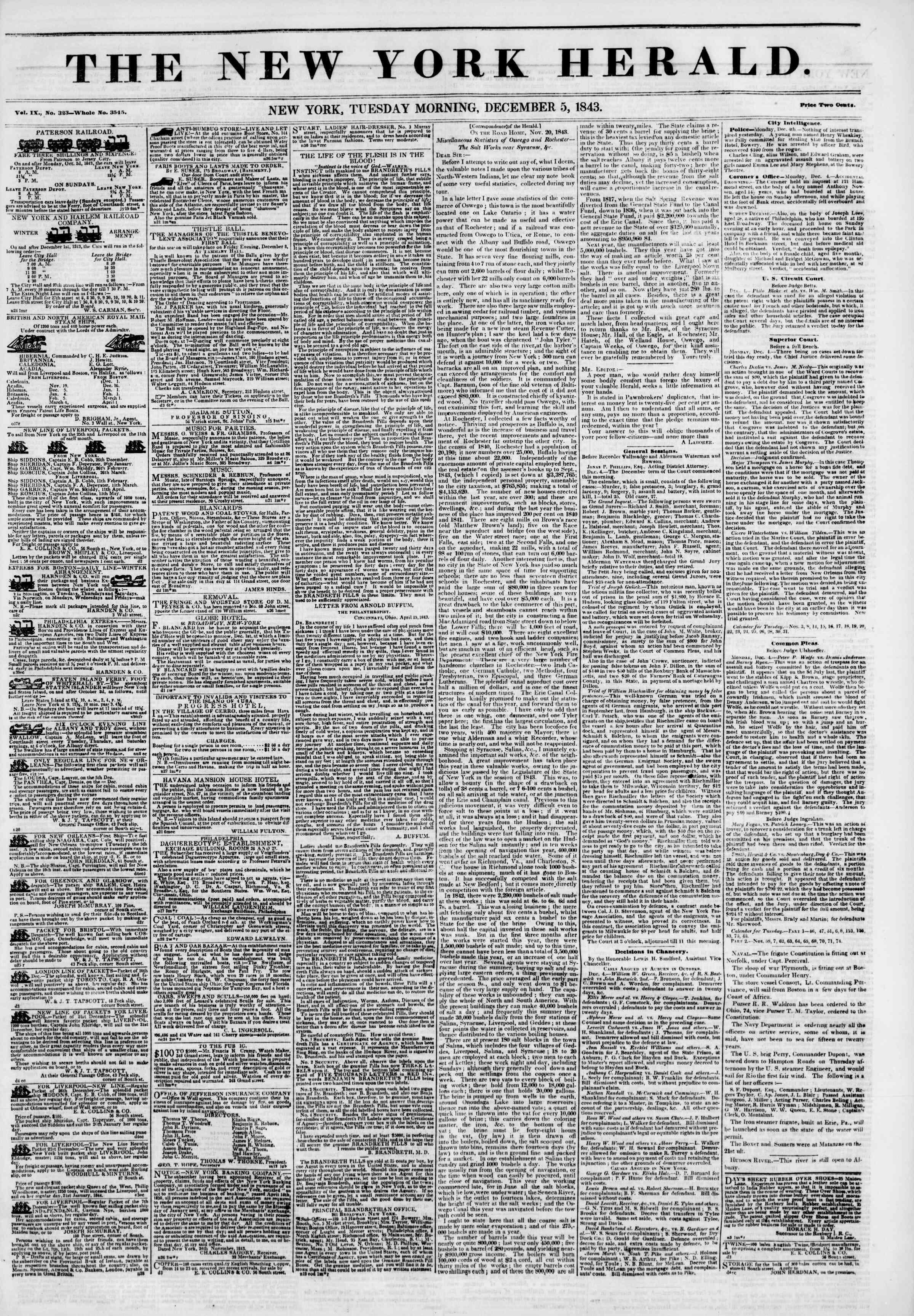 December 5, 1843 Tarihli The New York Herald Gazetesi Sayfa 1
