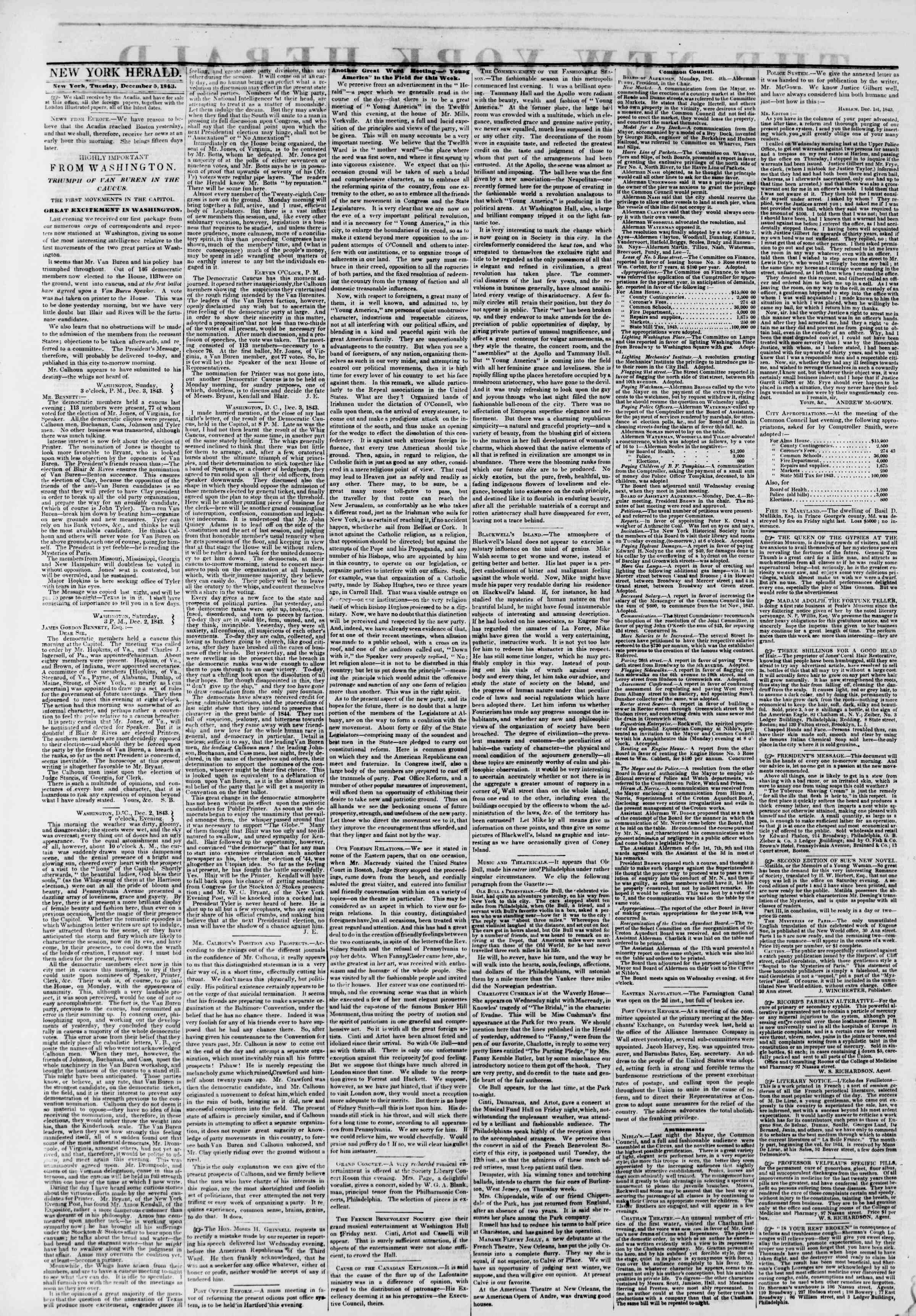 Newspaper of The New York Herald dated December 5, 1843 Page 2