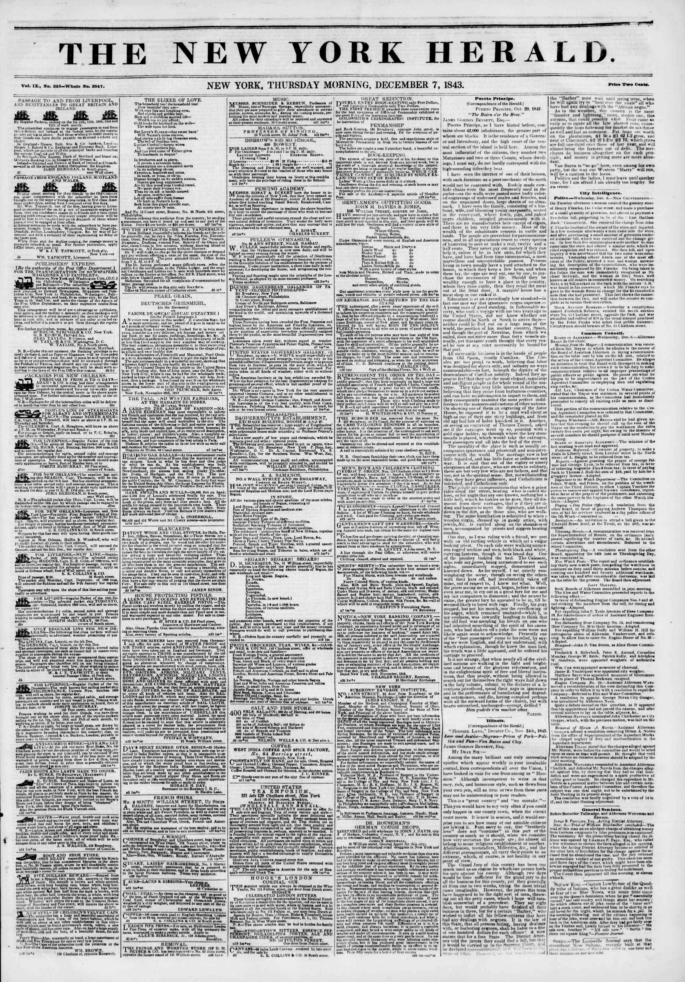 December 7, 1843 Tarihli The New York Herald Gazetesi Sayfa 1