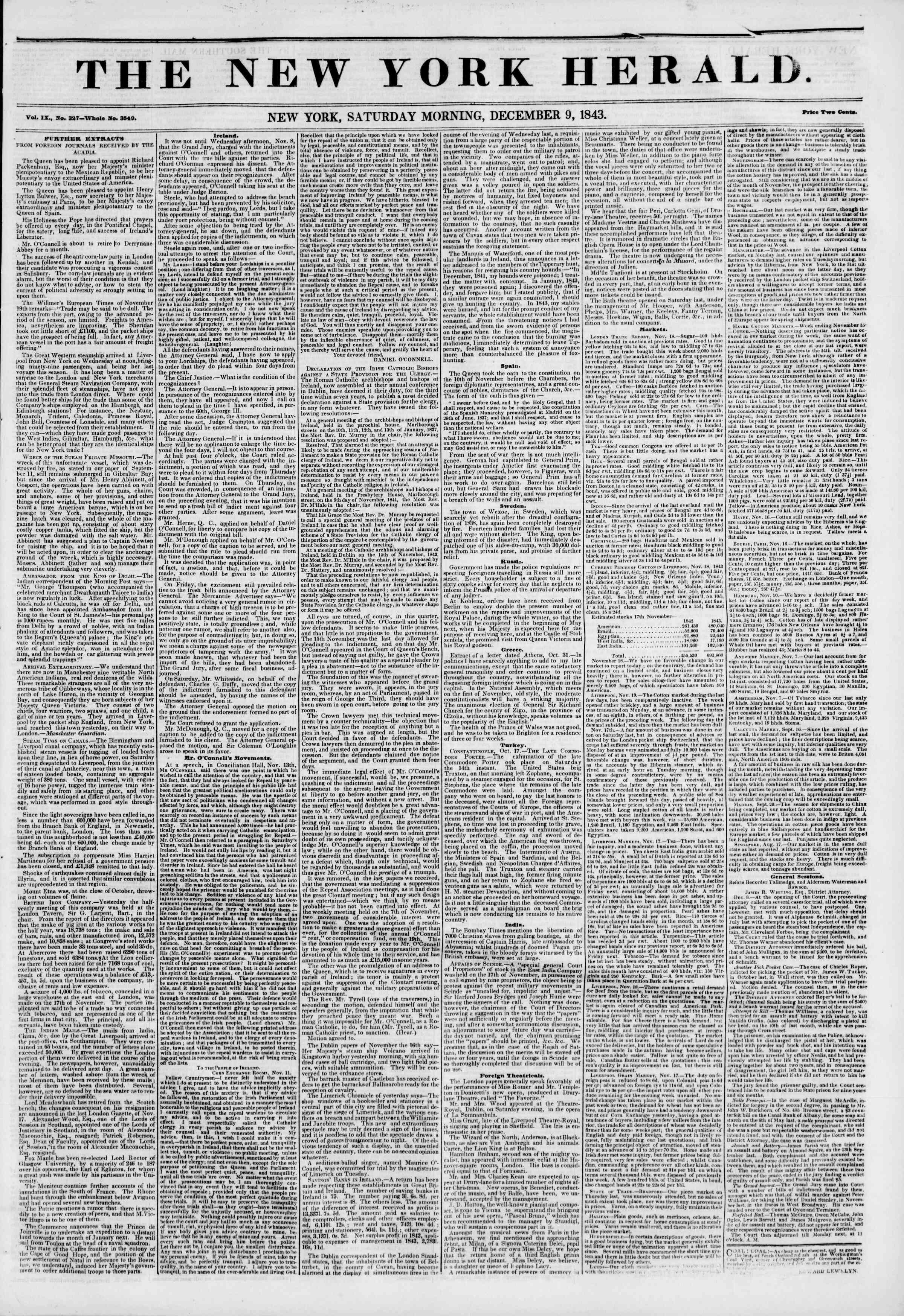 9 Aralık 1843 tarihli The New York Herald Gazetesi Sayfa 1
