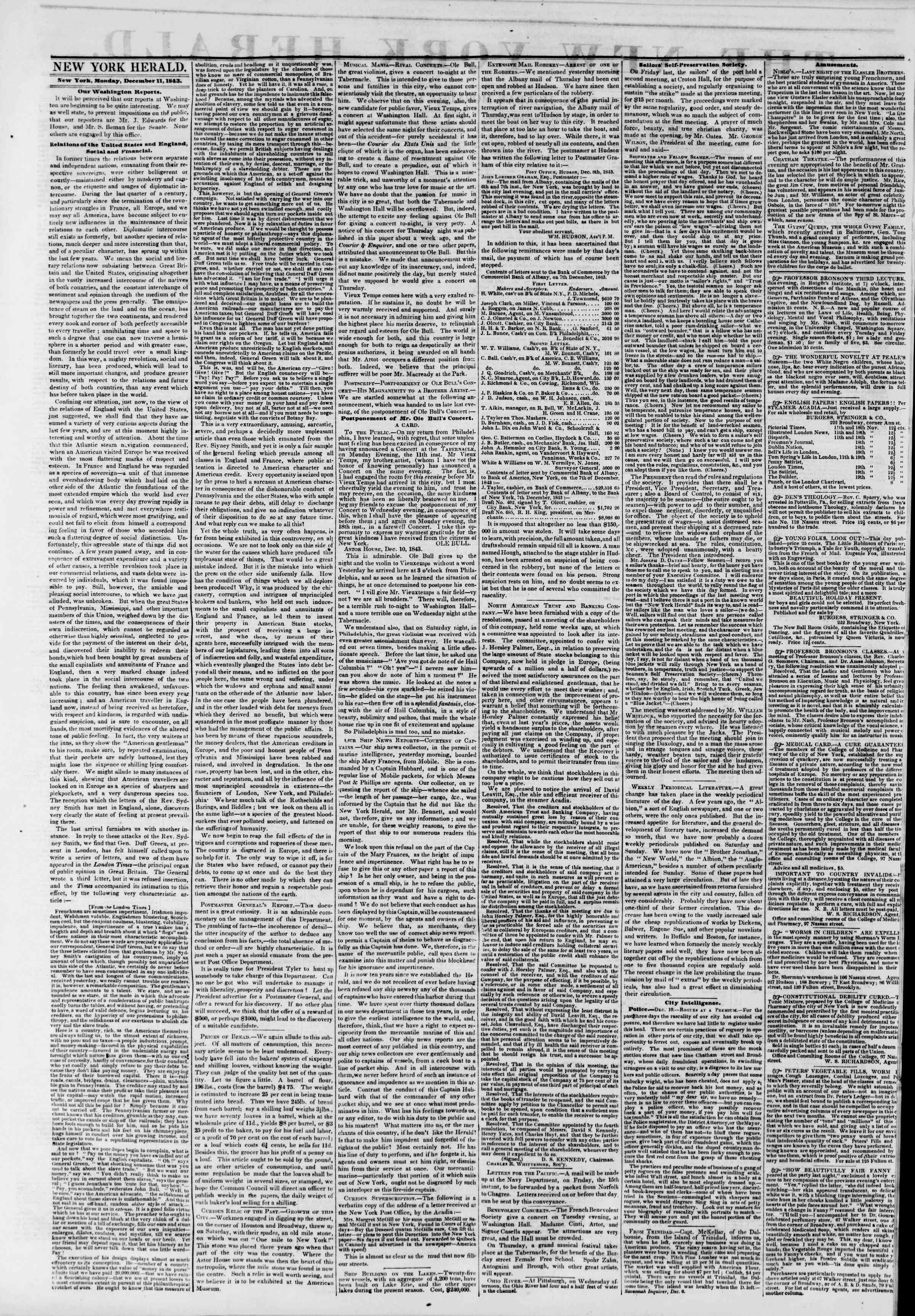 December 11, 1843 Tarihli The New York Herald Gazetesi Sayfa 2