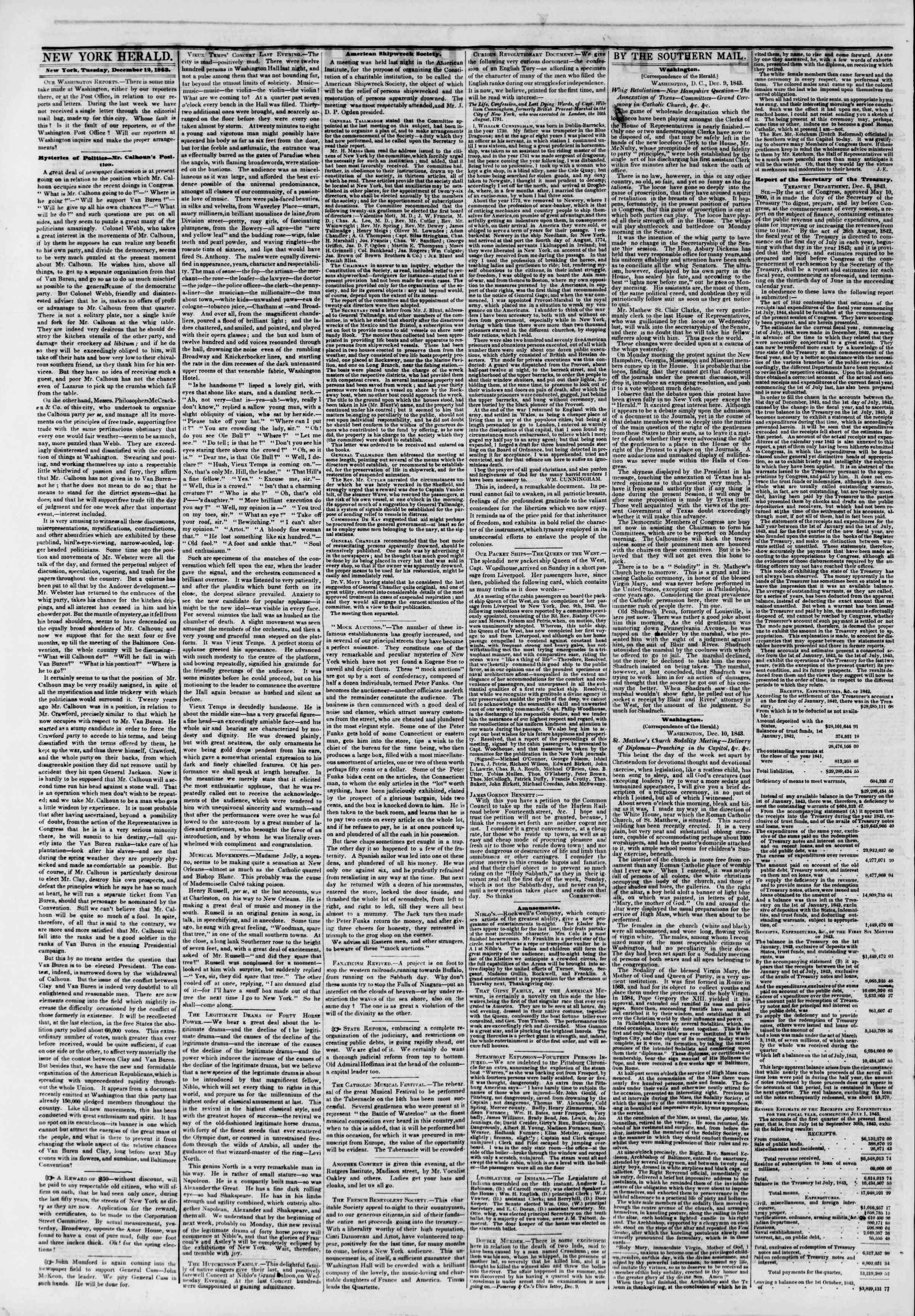 December 12, 1843 Tarihli The New York Herald Gazetesi Sayfa 2
