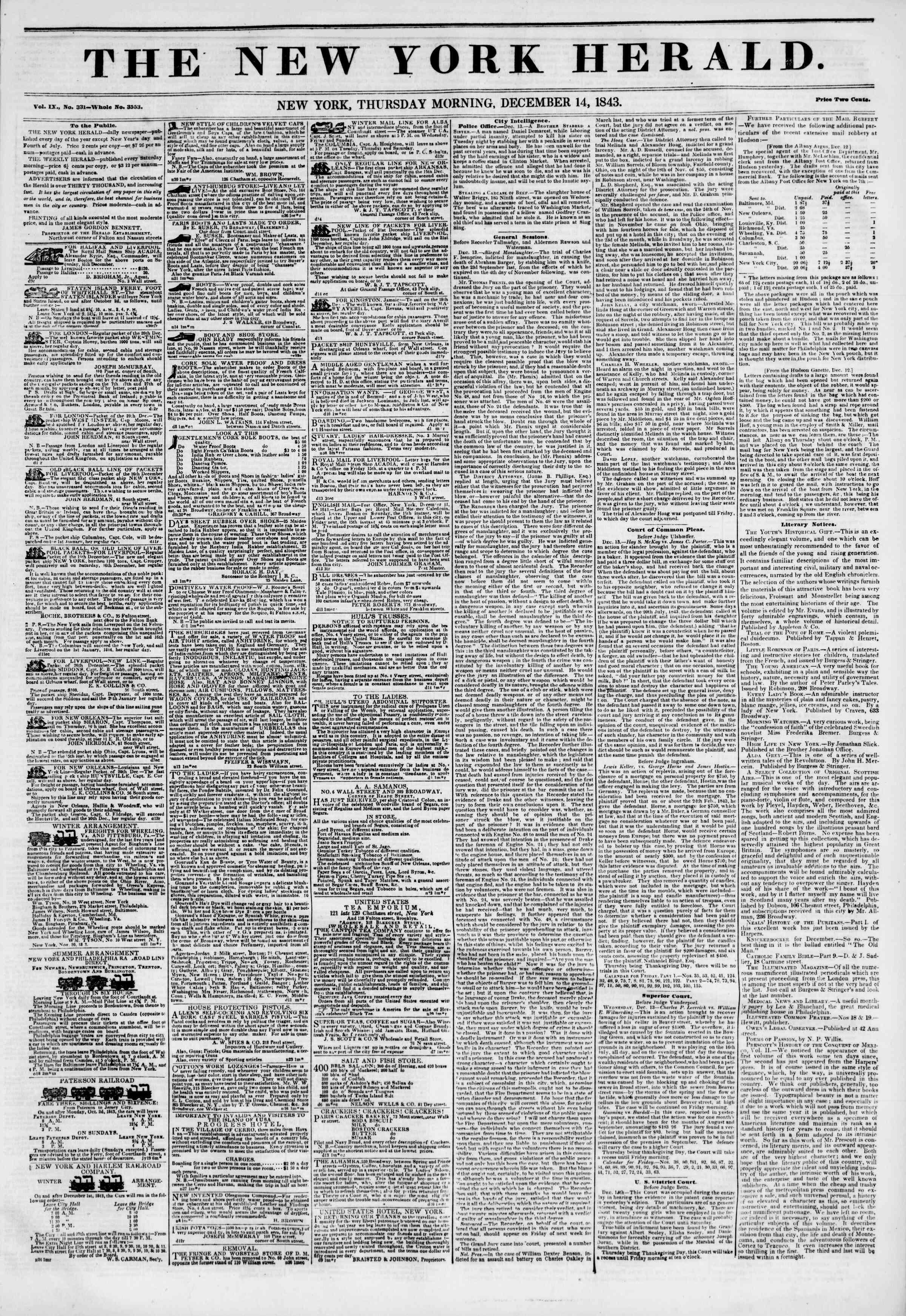 December 14, 1843 Tarihli The New York Herald Gazetesi Sayfa 1