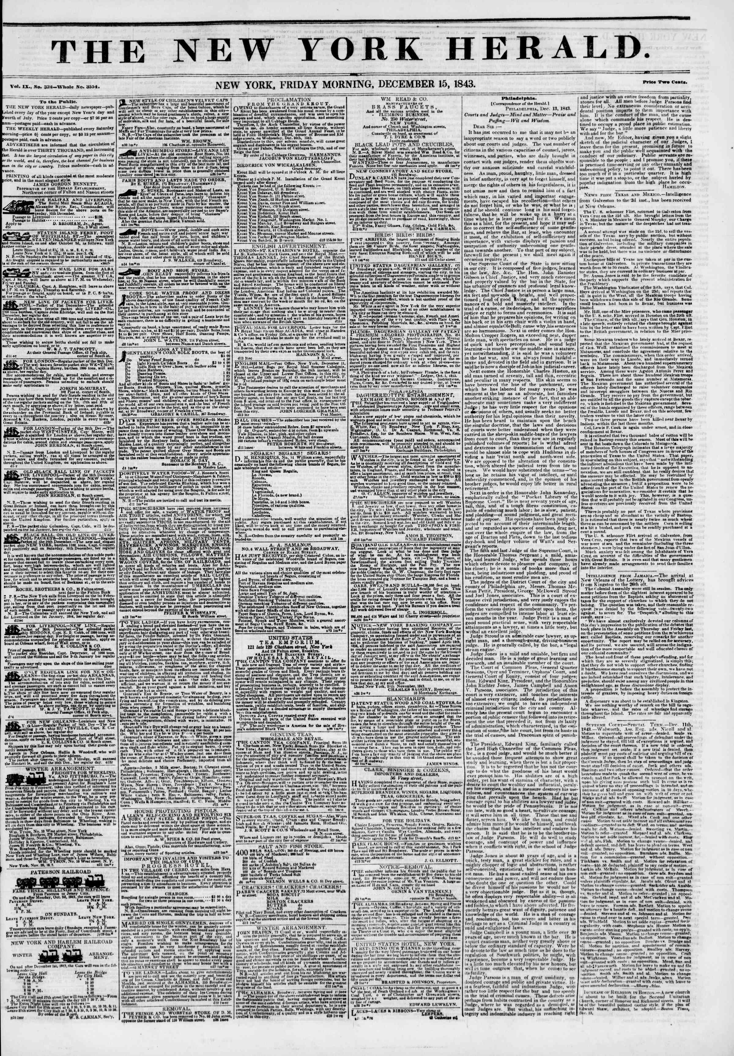 December 15, 1843 Tarihli The New York Herald Gazetesi Sayfa 1