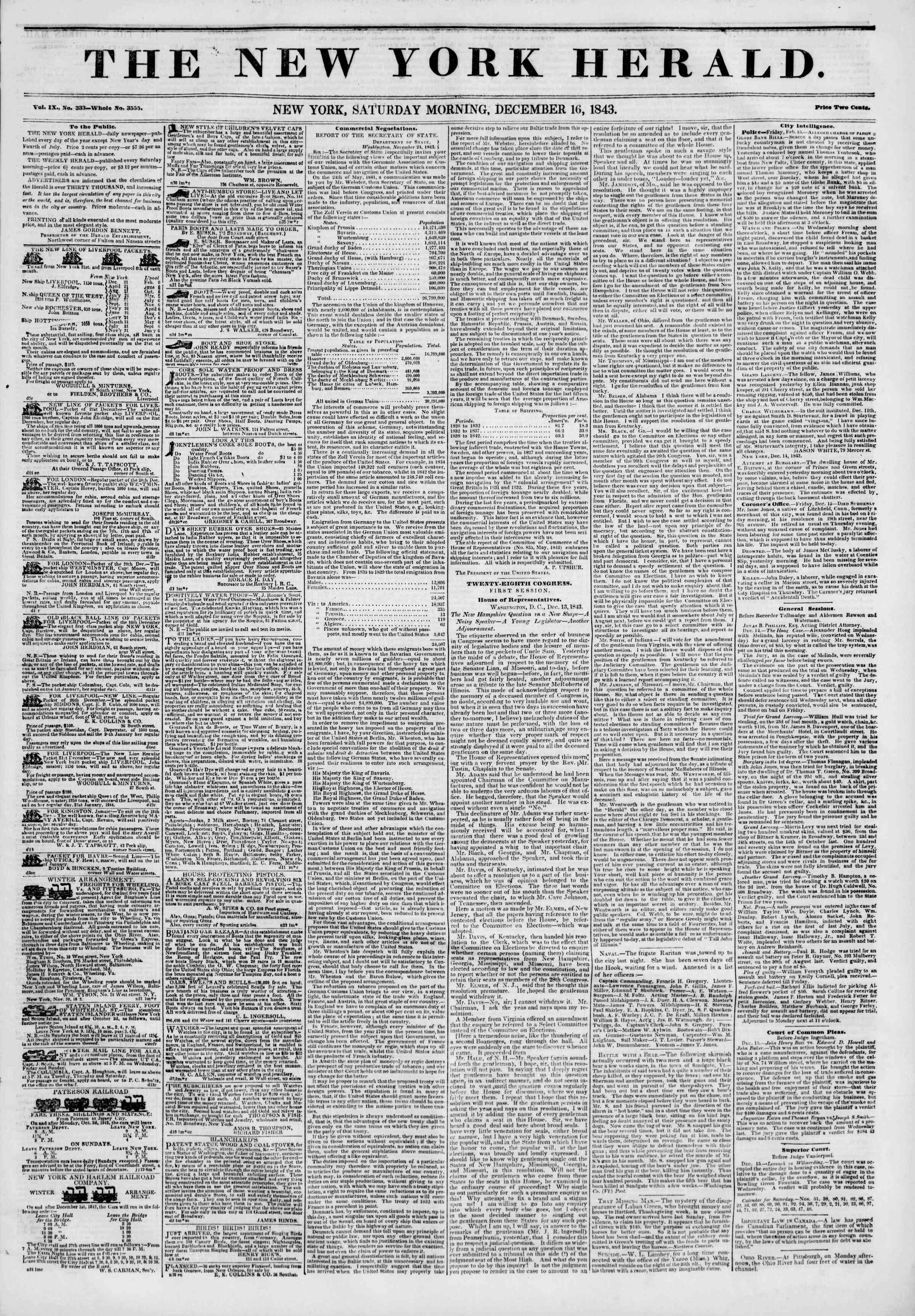 December 16, 1843 Tarihli The New York Herald Gazetesi Sayfa 1