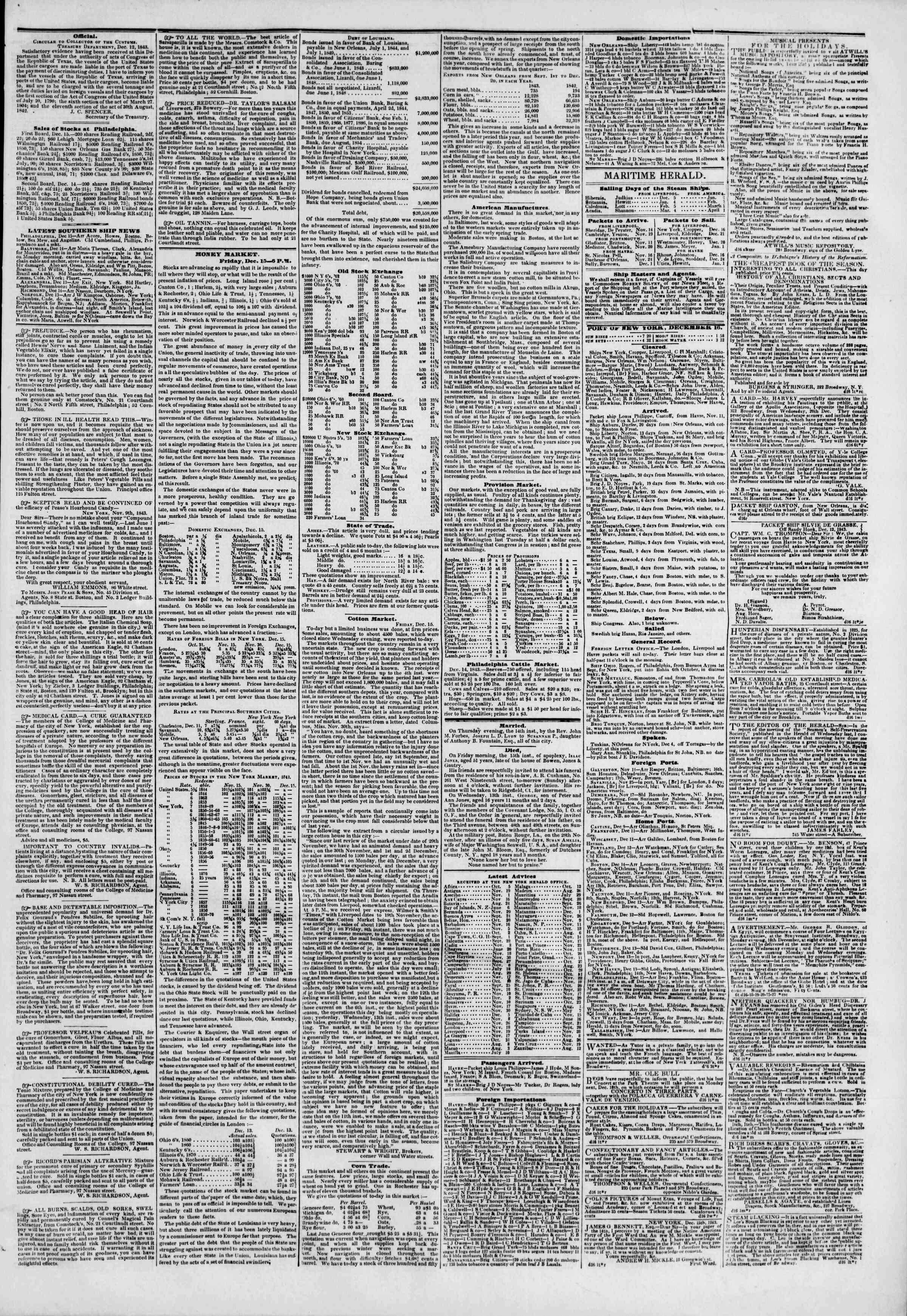 December 16, 1843 Tarihli The New York Herald Gazetesi Sayfa 3