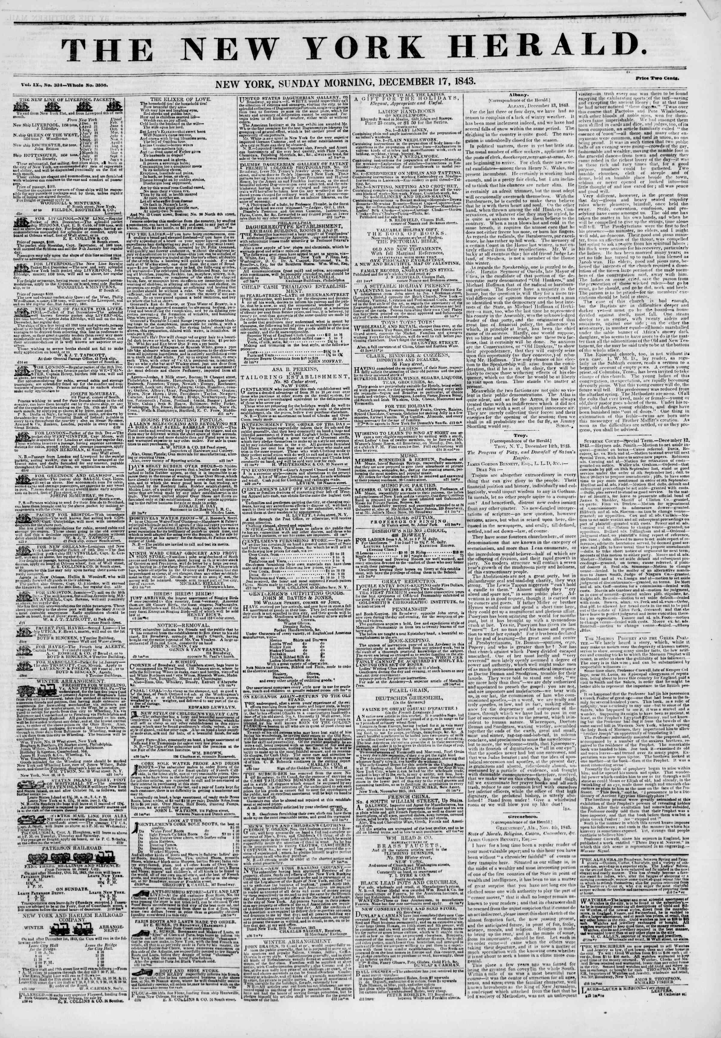 December 17, 1843 Tarihli The New York Herald Gazetesi Sayfa 1