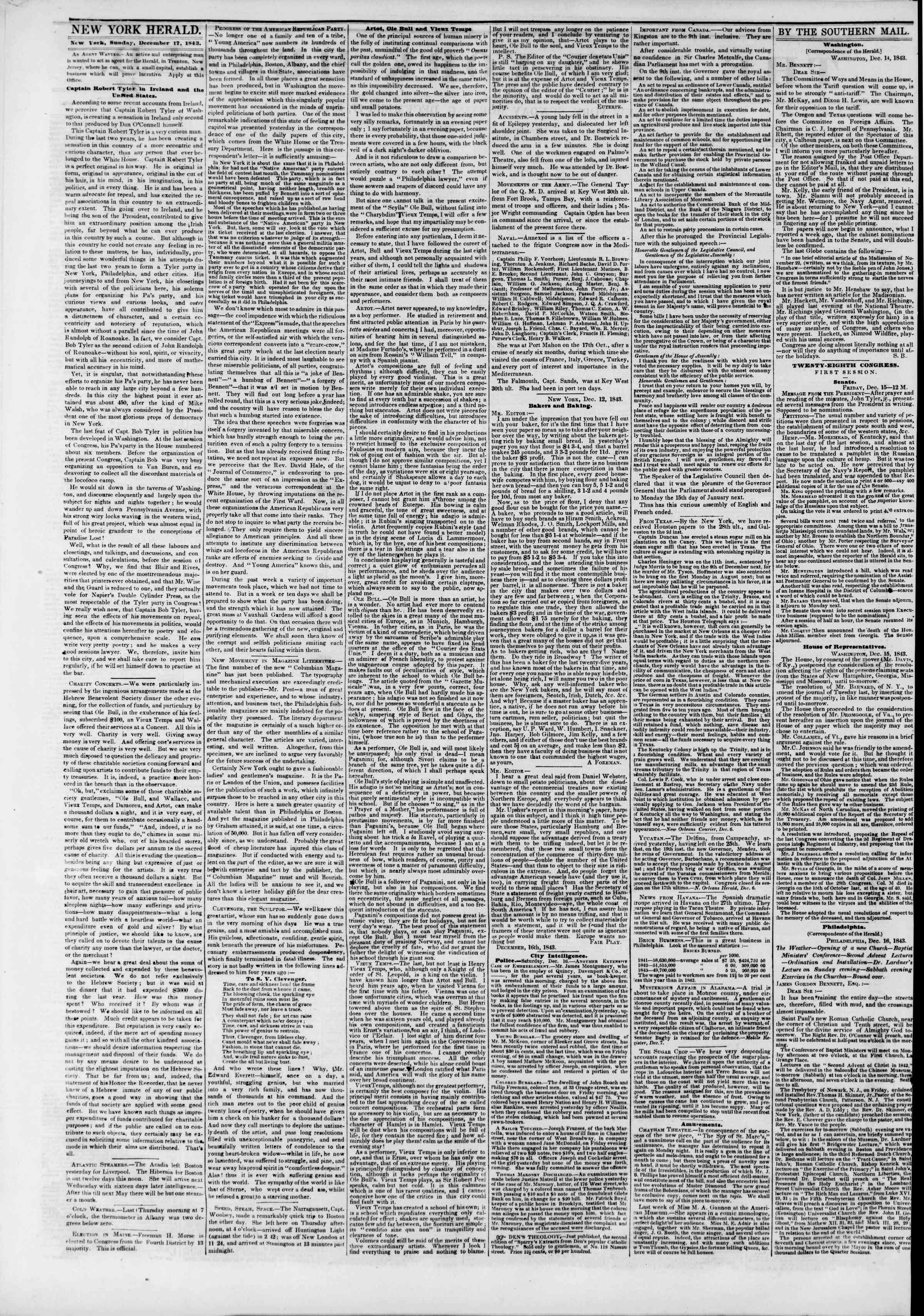 Newspaper of The New York Herald dated December 17, 1843 Page 2