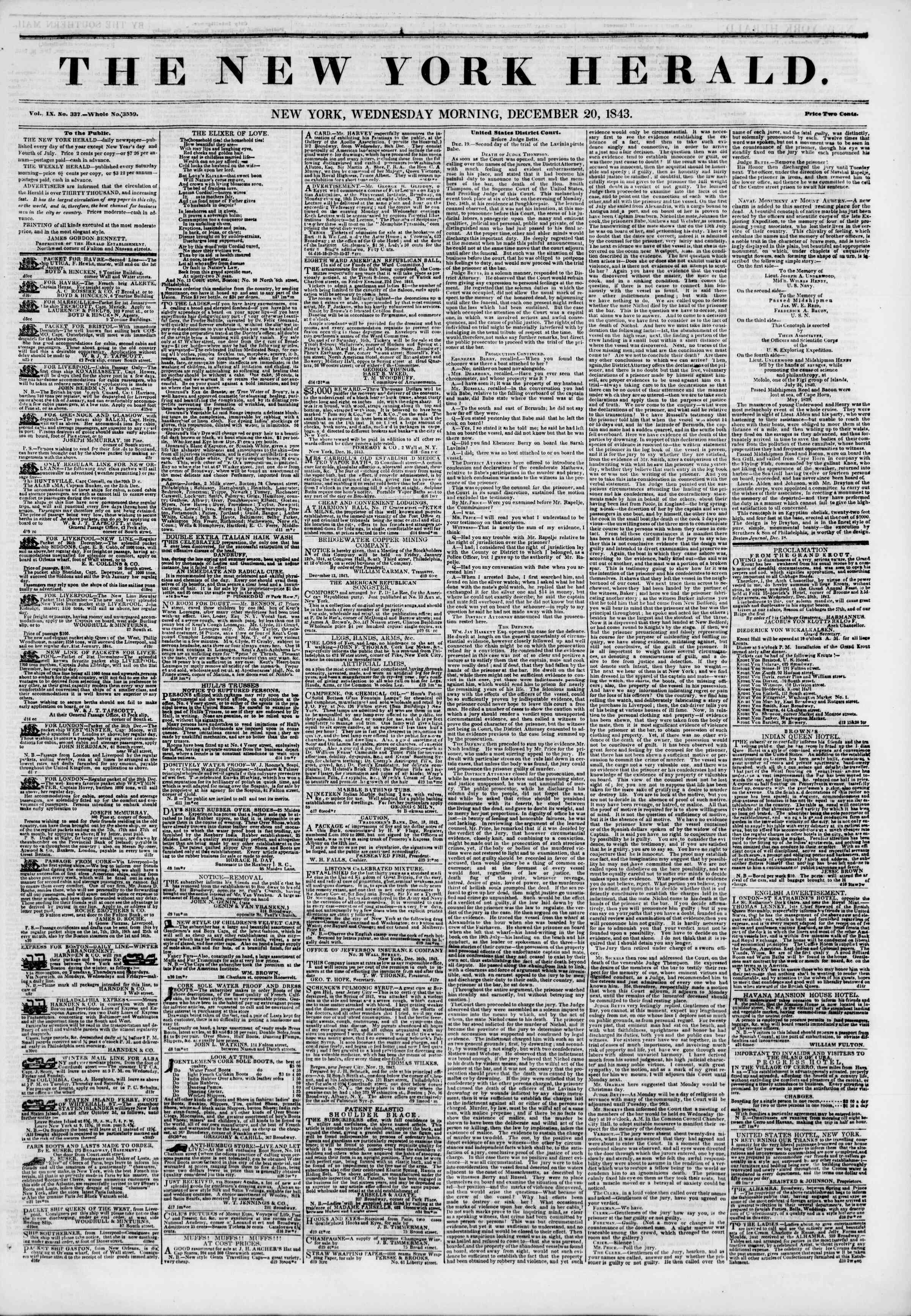 Newspaper of The New York Herald dated December 20, 1843 Page 1