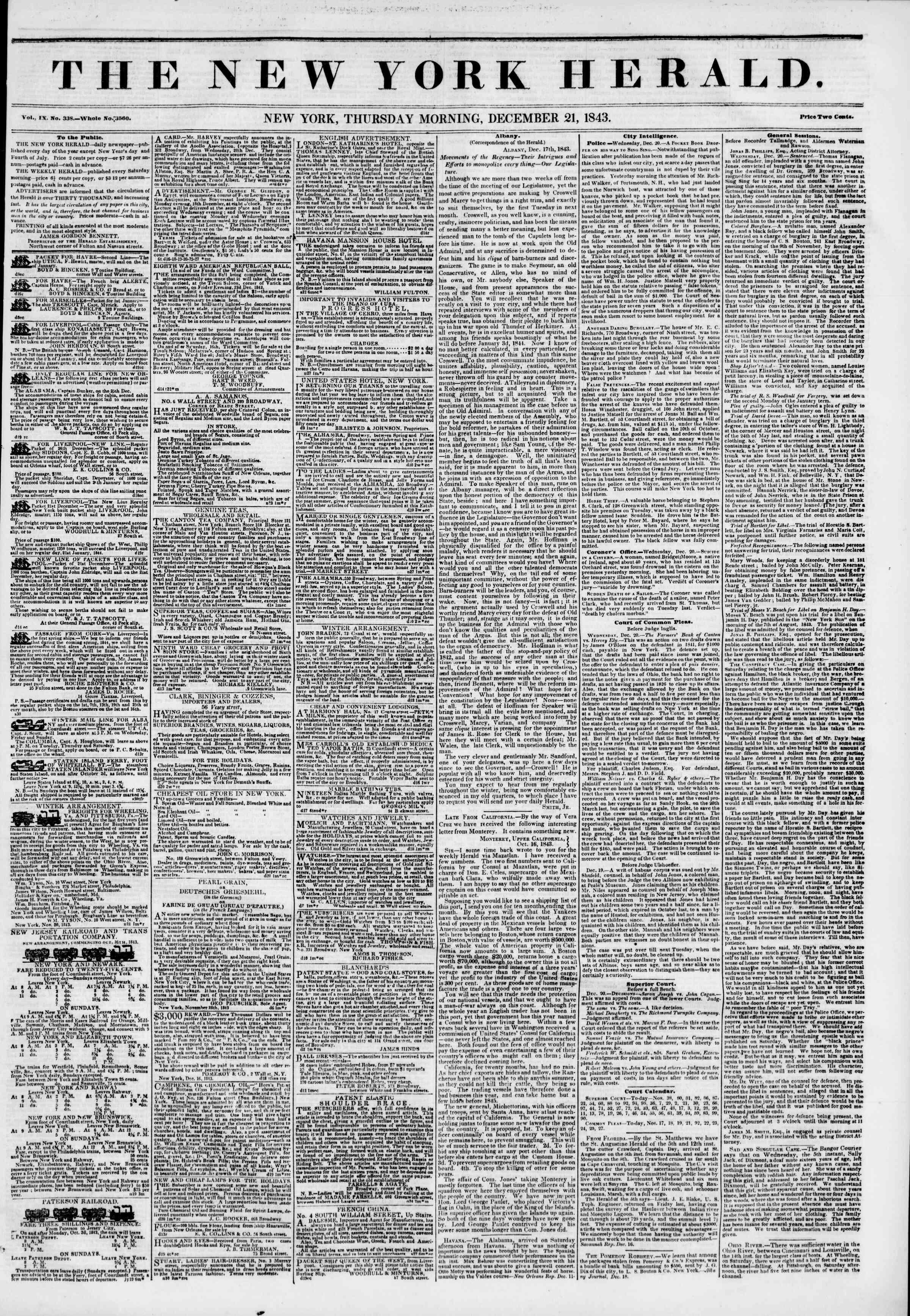21 Aralık 1843 Tarihli The New York Herald Gazetesi Sayfa 1