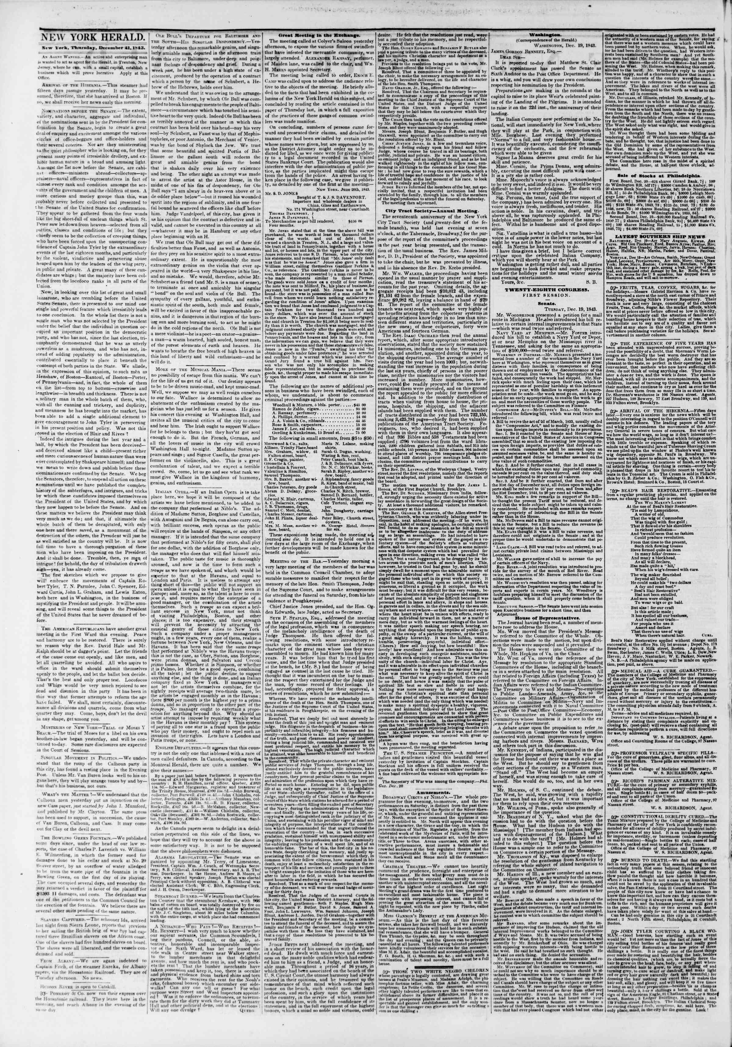 Newspaper of The New York Herald dated December 21, 1843 Page 2