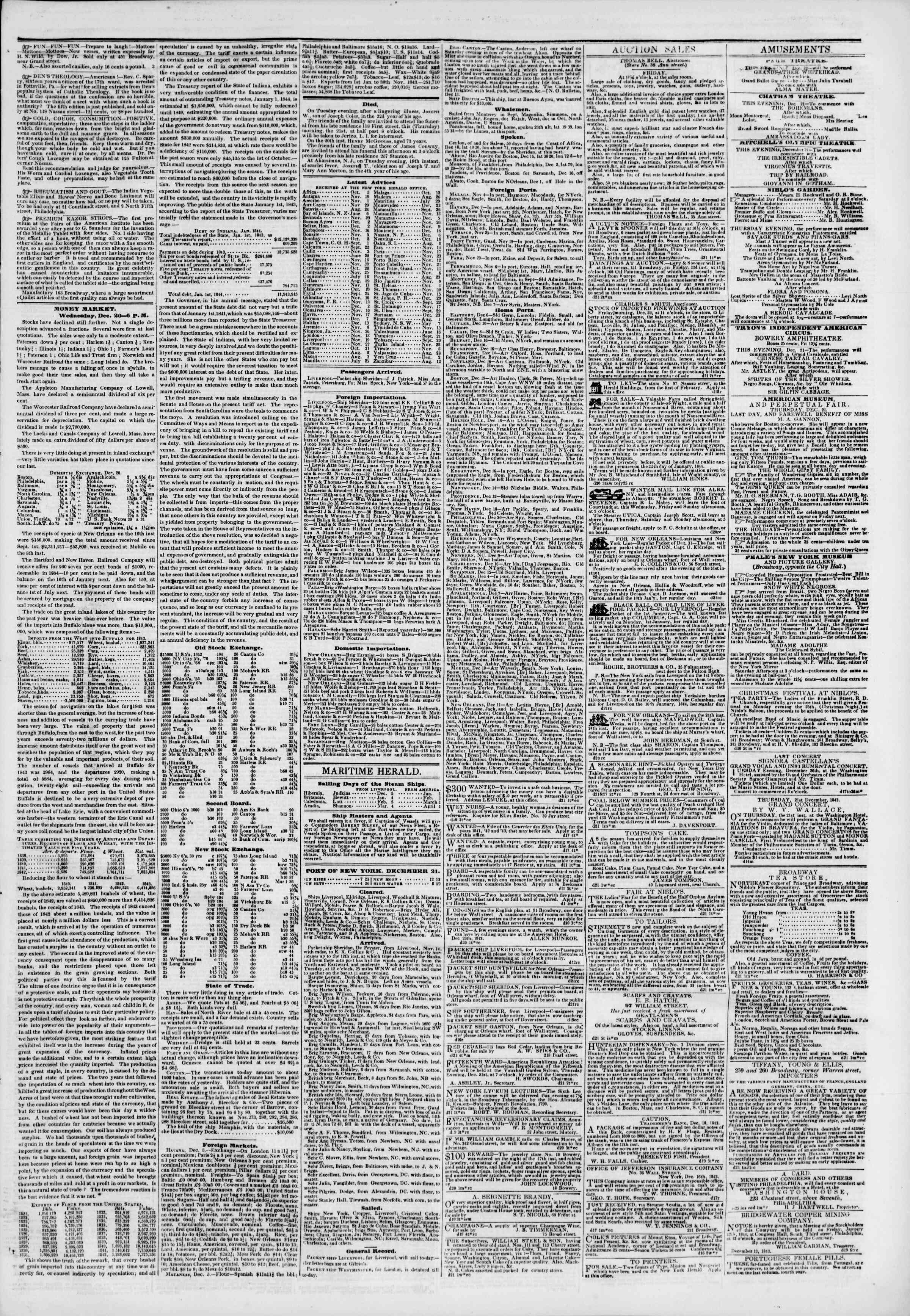 Newspaper of The New York Herald dated December 21, 1843 Page 3