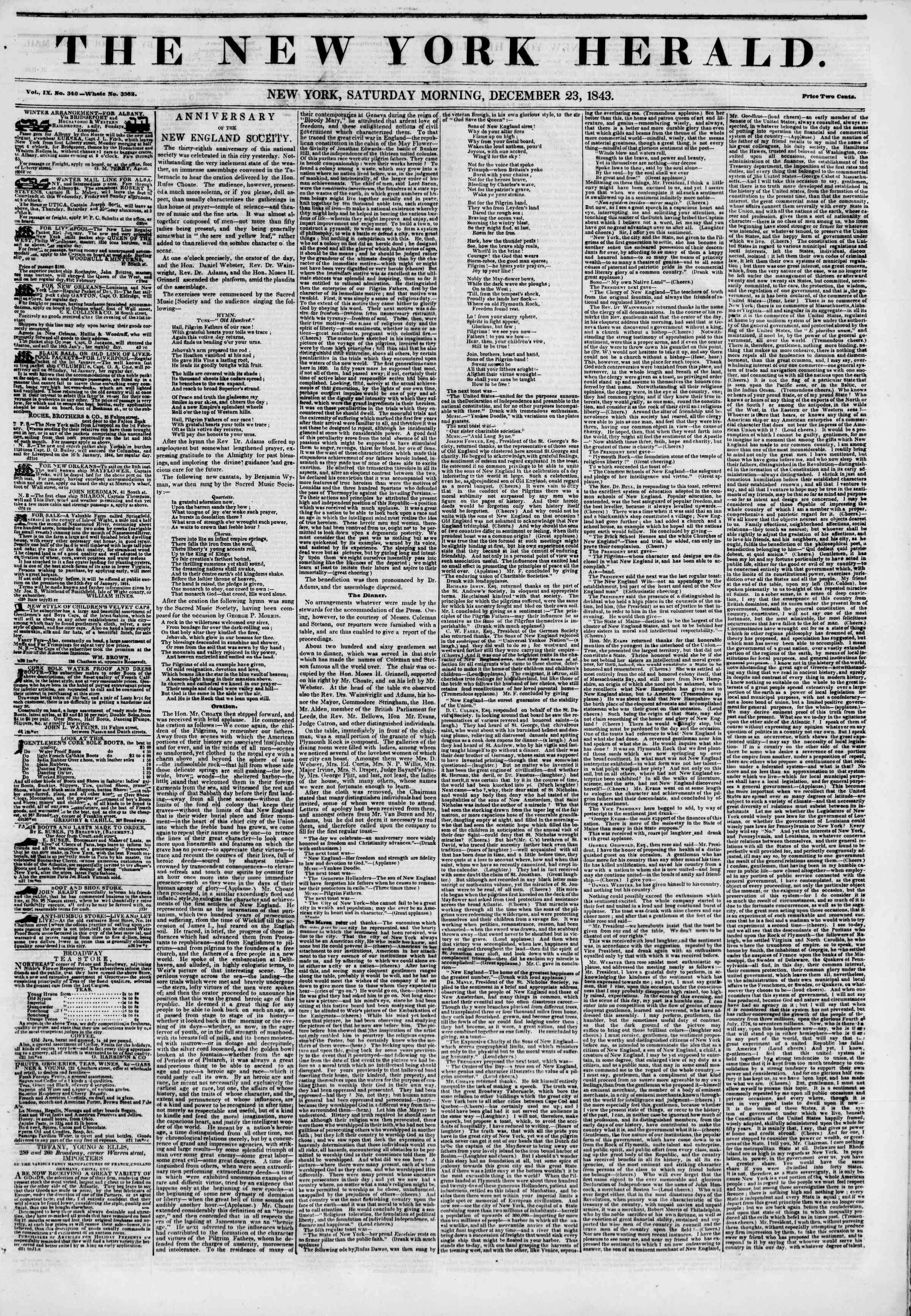 December 23, 1843 Tarihli The New York Herald Gazetesi Sayfa 1