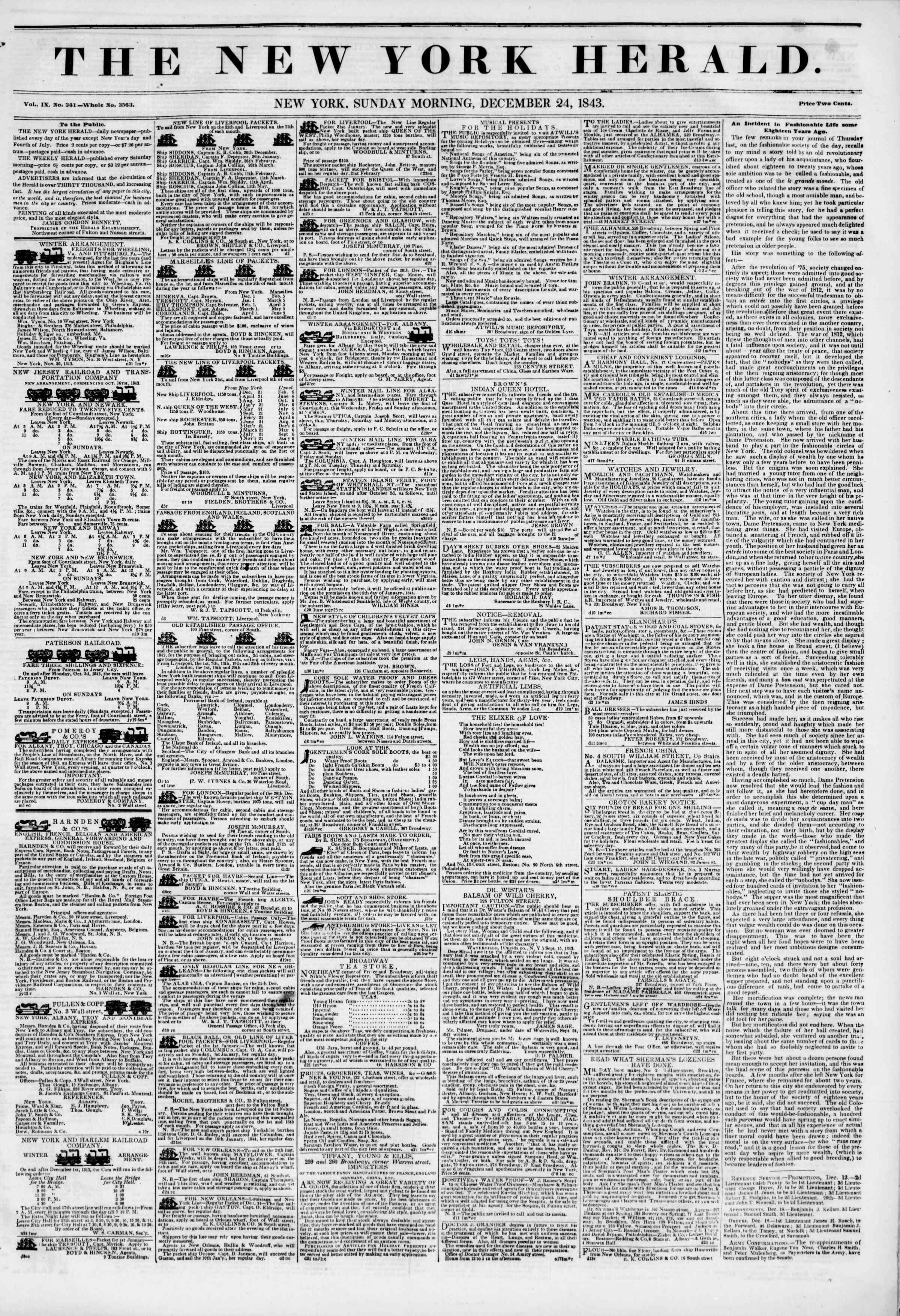 Newspaper of The New York Herald dated December 24, 1843 Page 1