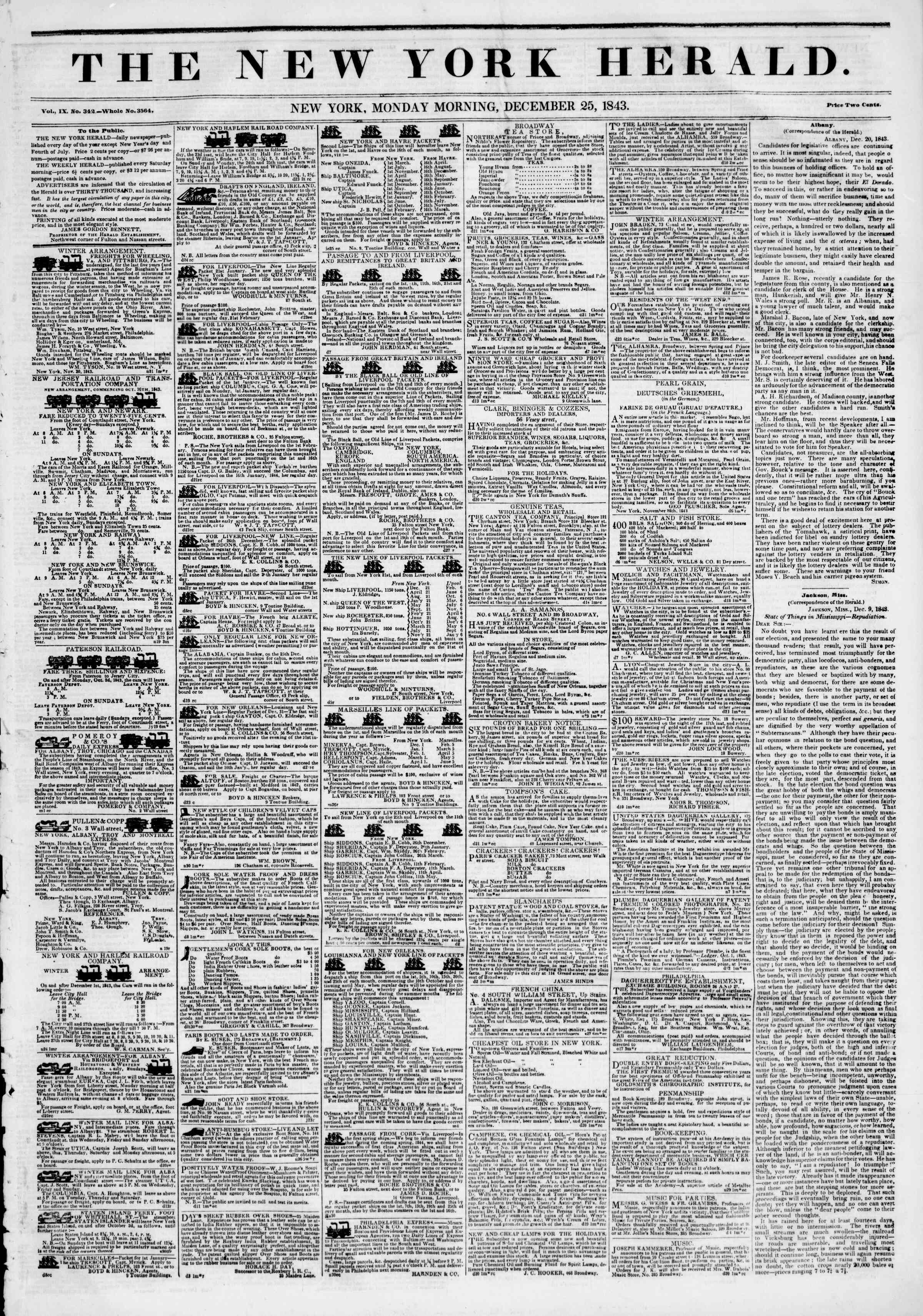 Newspaper of The New York Herald dated December 25, 1843 Page 1