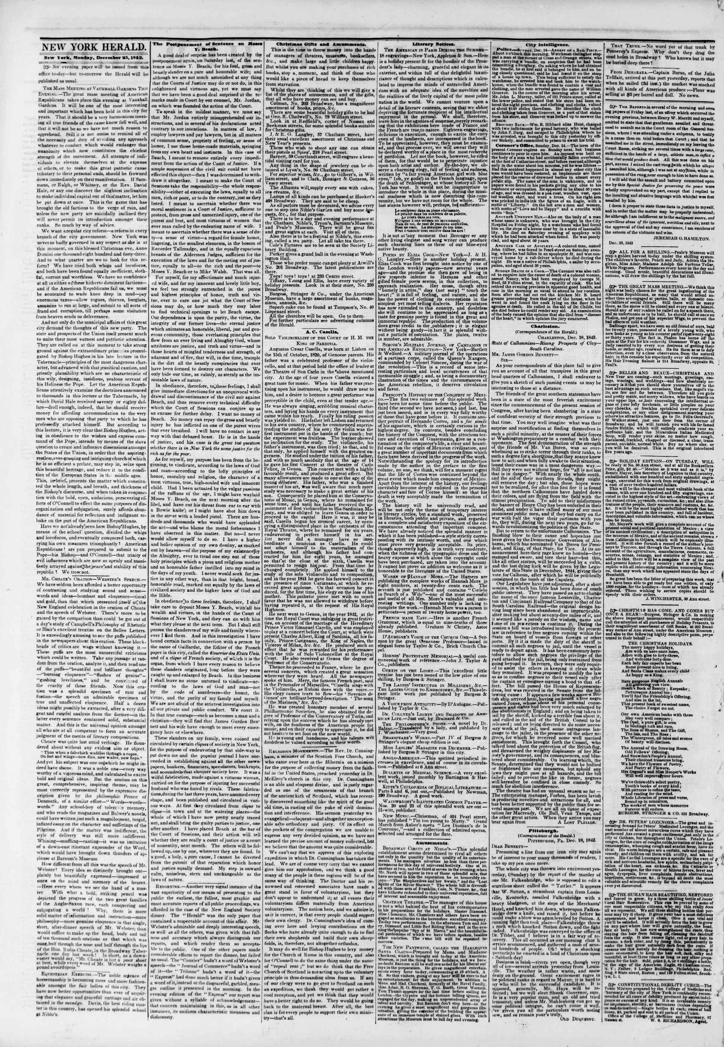 Newspaper of The New York Herald dated December 25, 1843 Page 2