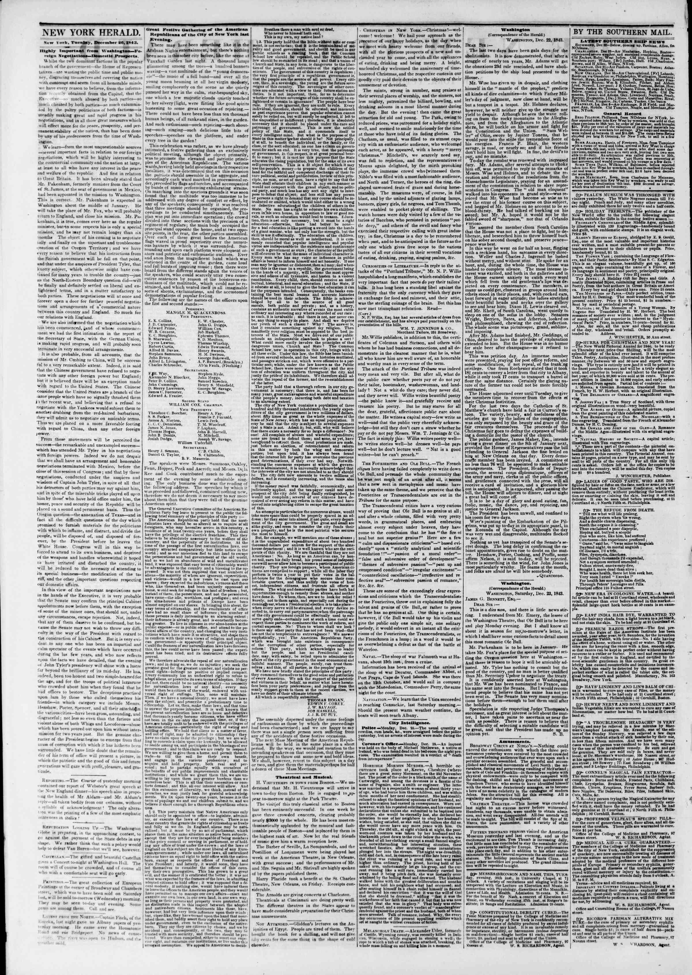 December 26, 1843 Tarihli The New York Herald Gazetesi Sayfa 2