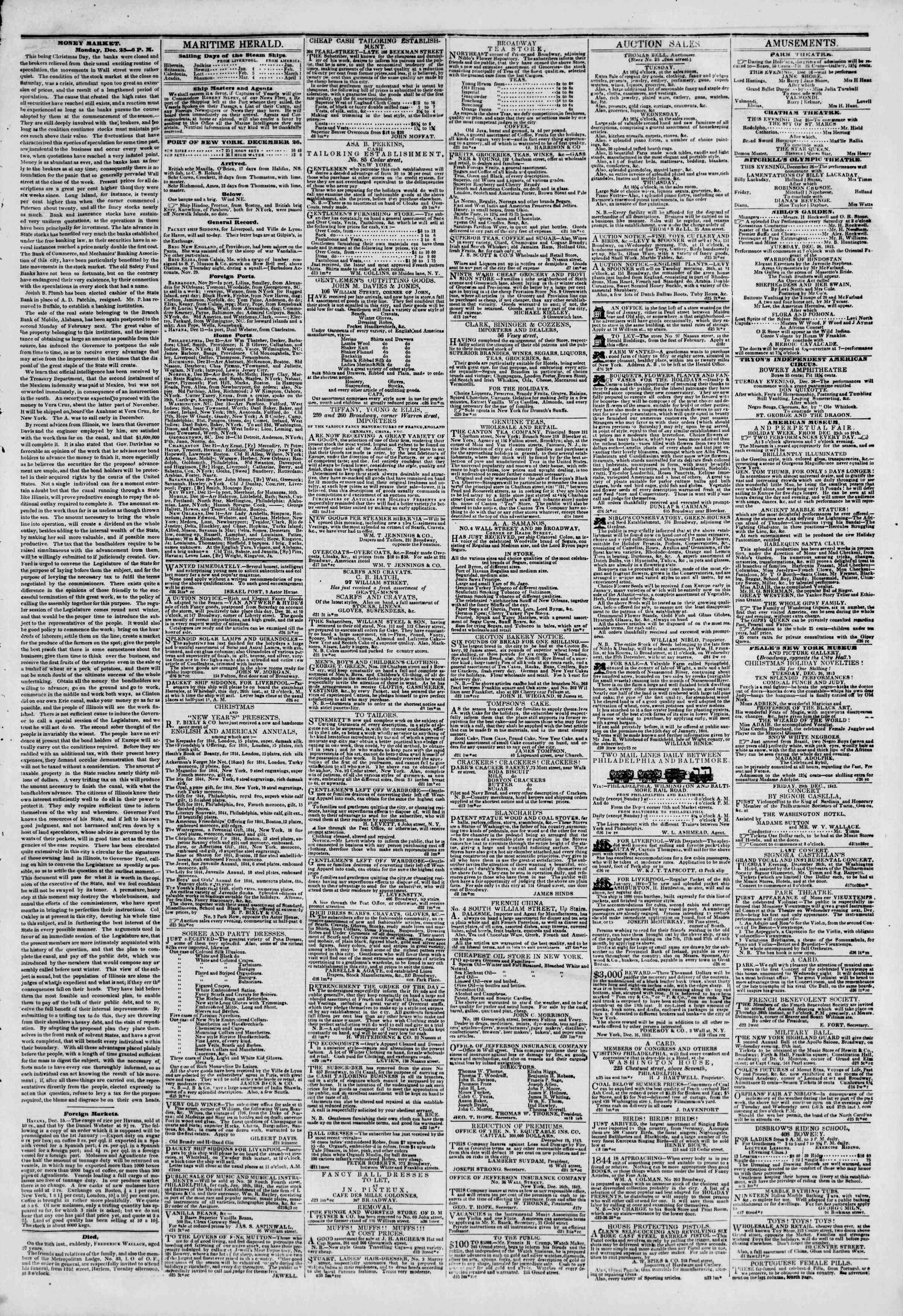 Newspaper of The New York Herald dated December 26, 1843 Page 3