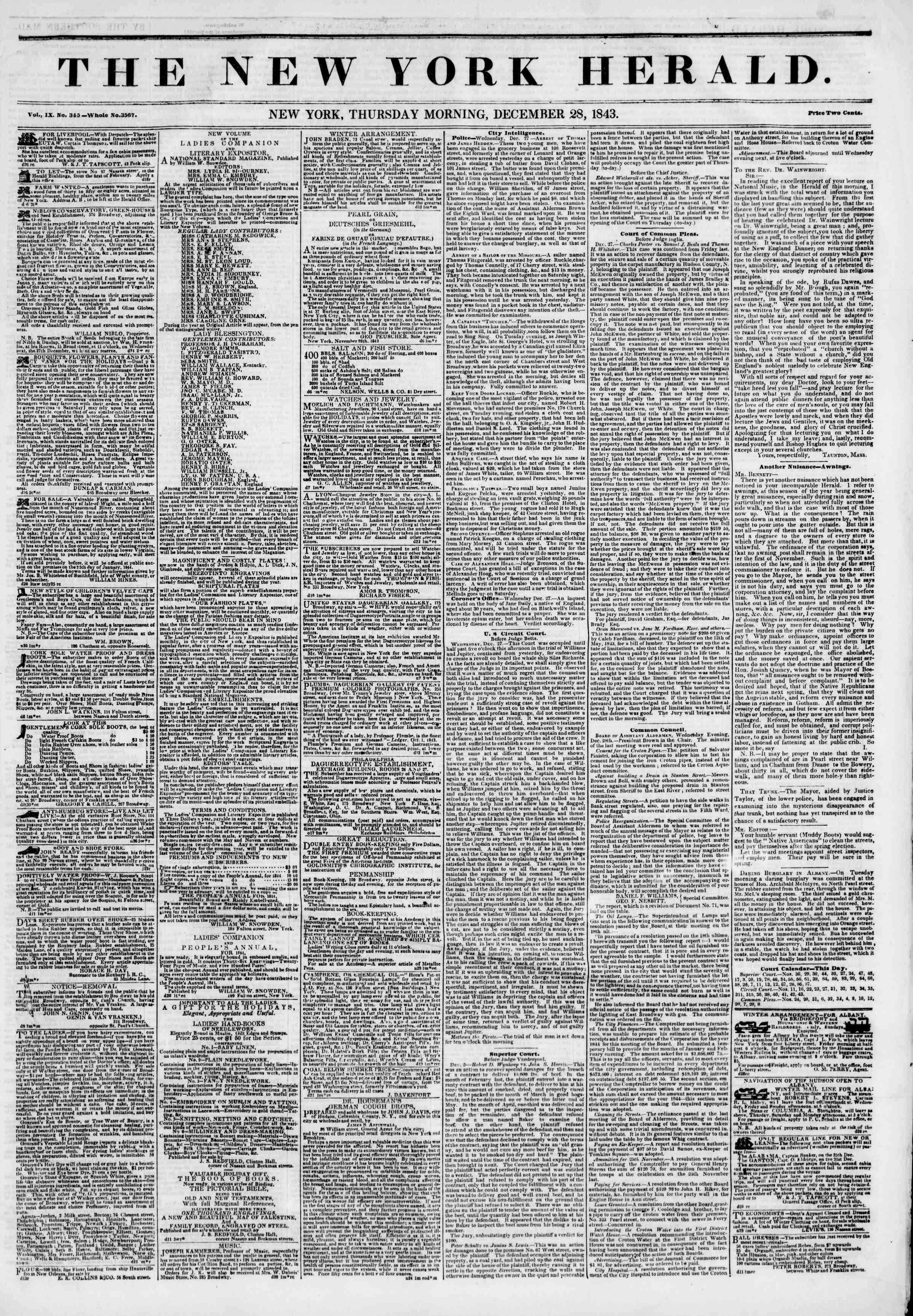 December 28, 1843 Tarihli The New York Herald Gazetesi Sayfa 1