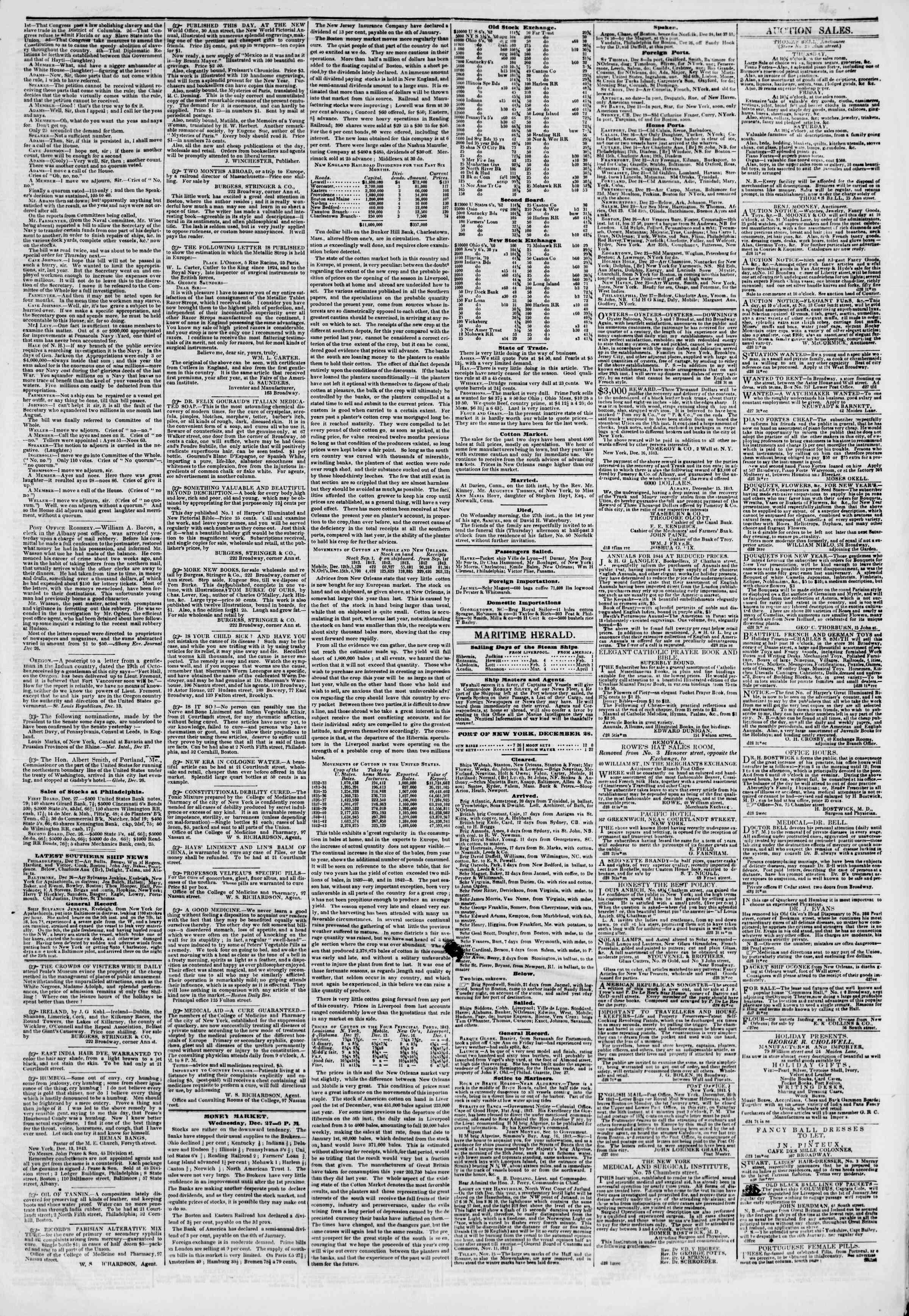 December 28, 1843 Tarihli The New York Herald Gazetesi Sayfa 3