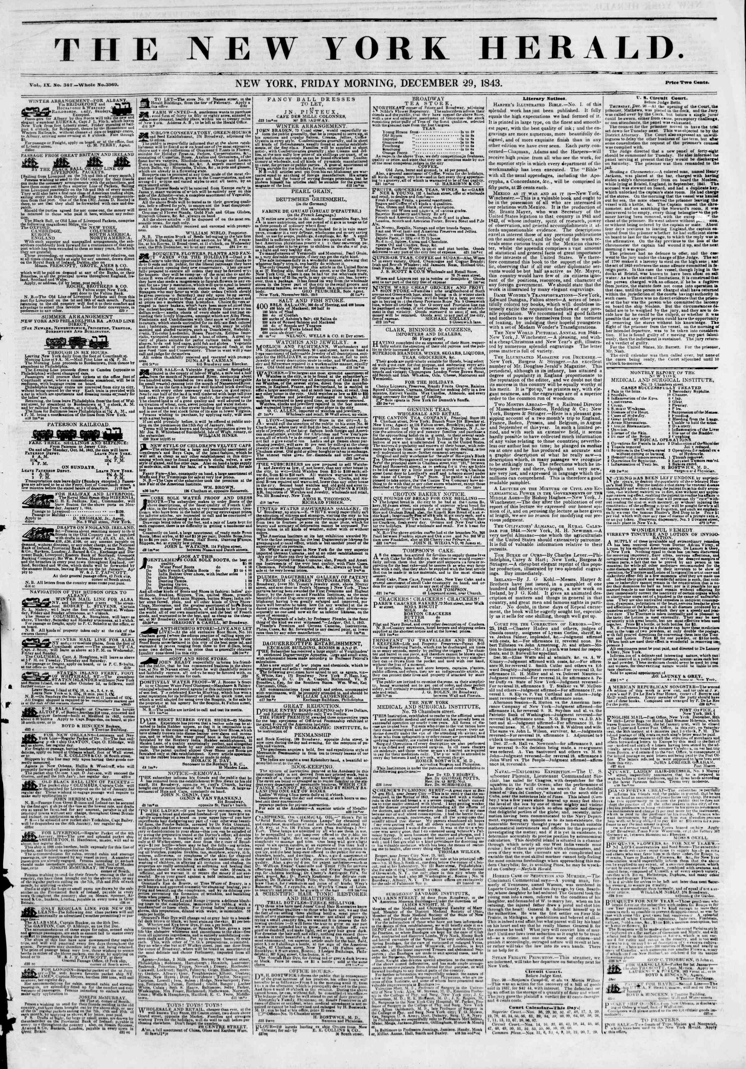 Newspaper of The New York Herald dated December 29, 1843 Page 1