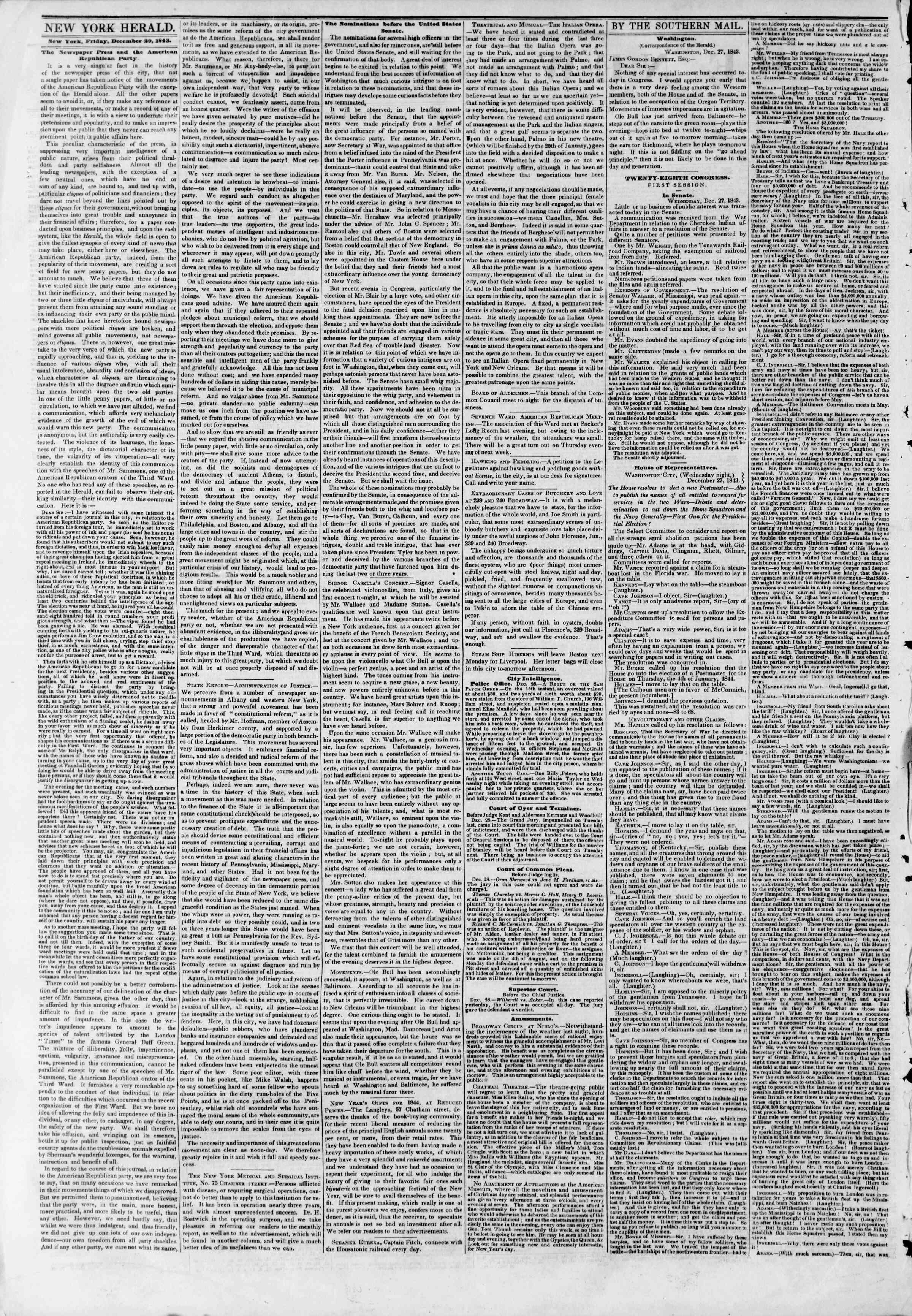 December 29, 1843 Tarihli The New York Herald Gazetesi Sayfa 2