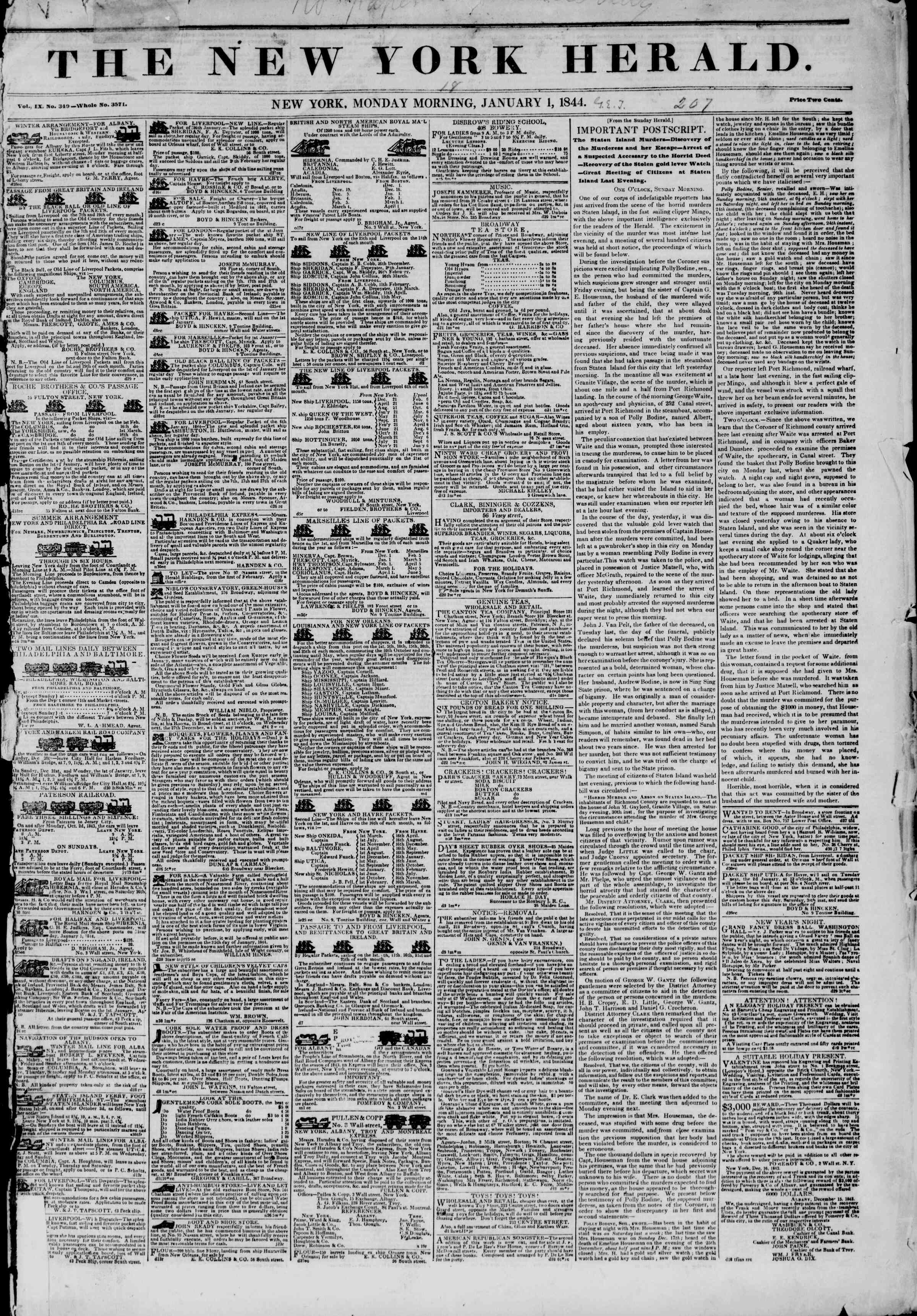 Newspaper of The New York Herald dated January 1, 1844 Page 1