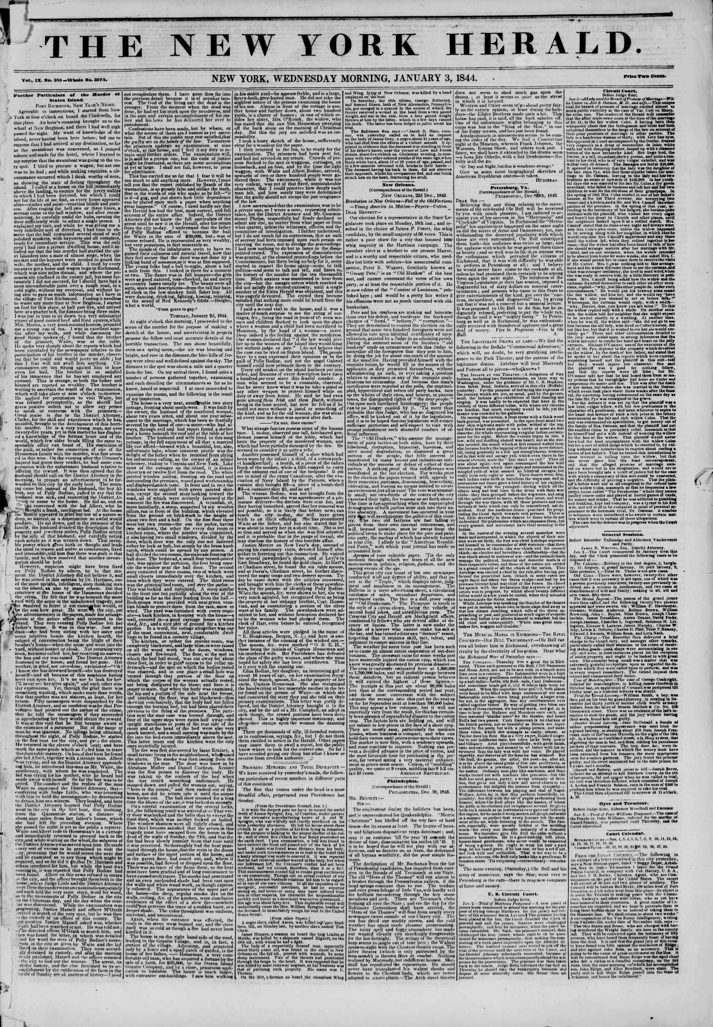 January 3, 1844 Tarihli The New York Herald Gazetesi Sayfa 1
