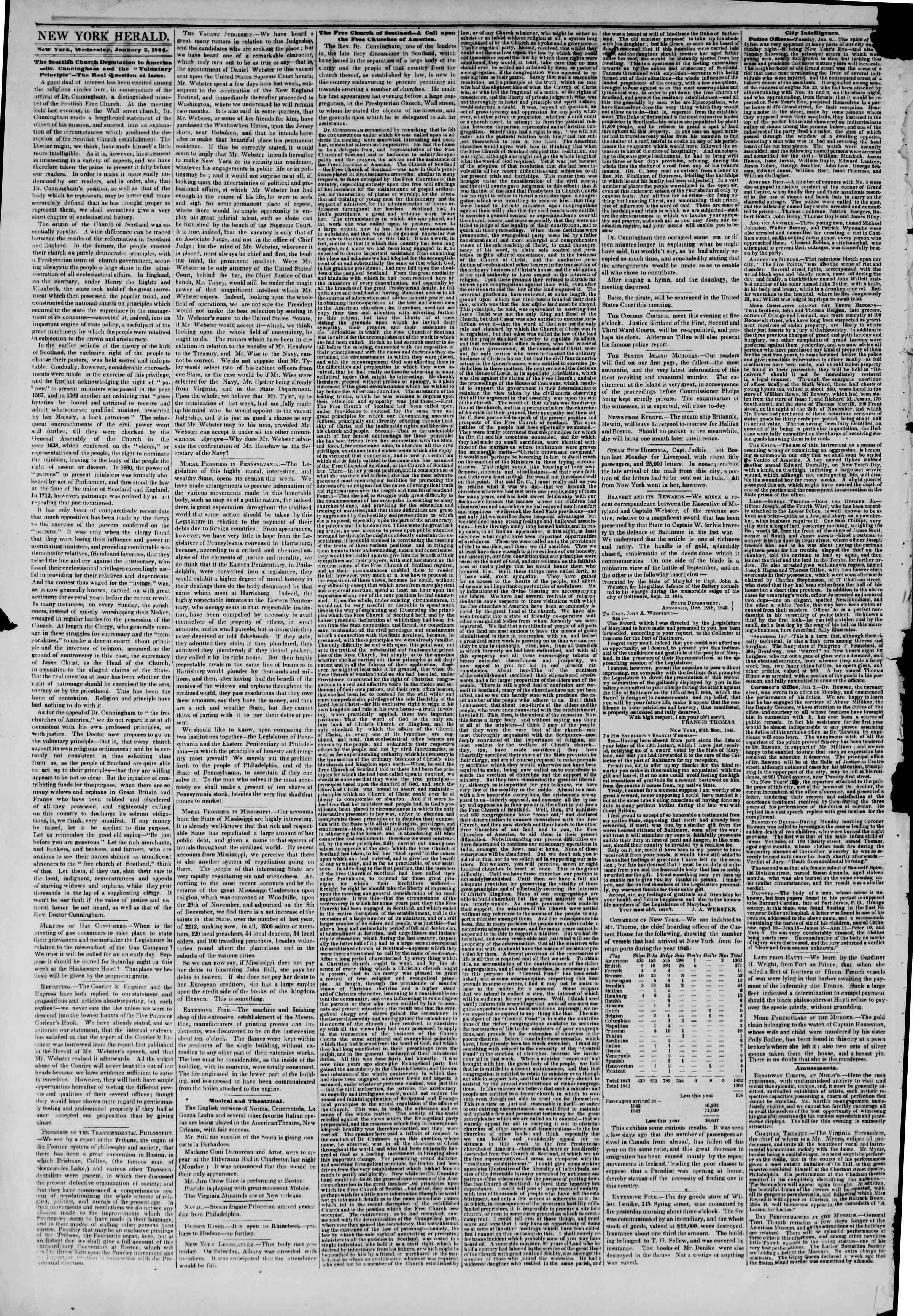 January 3, 1844 Tarihli The New York Herald Gazetesi Sayfa 2