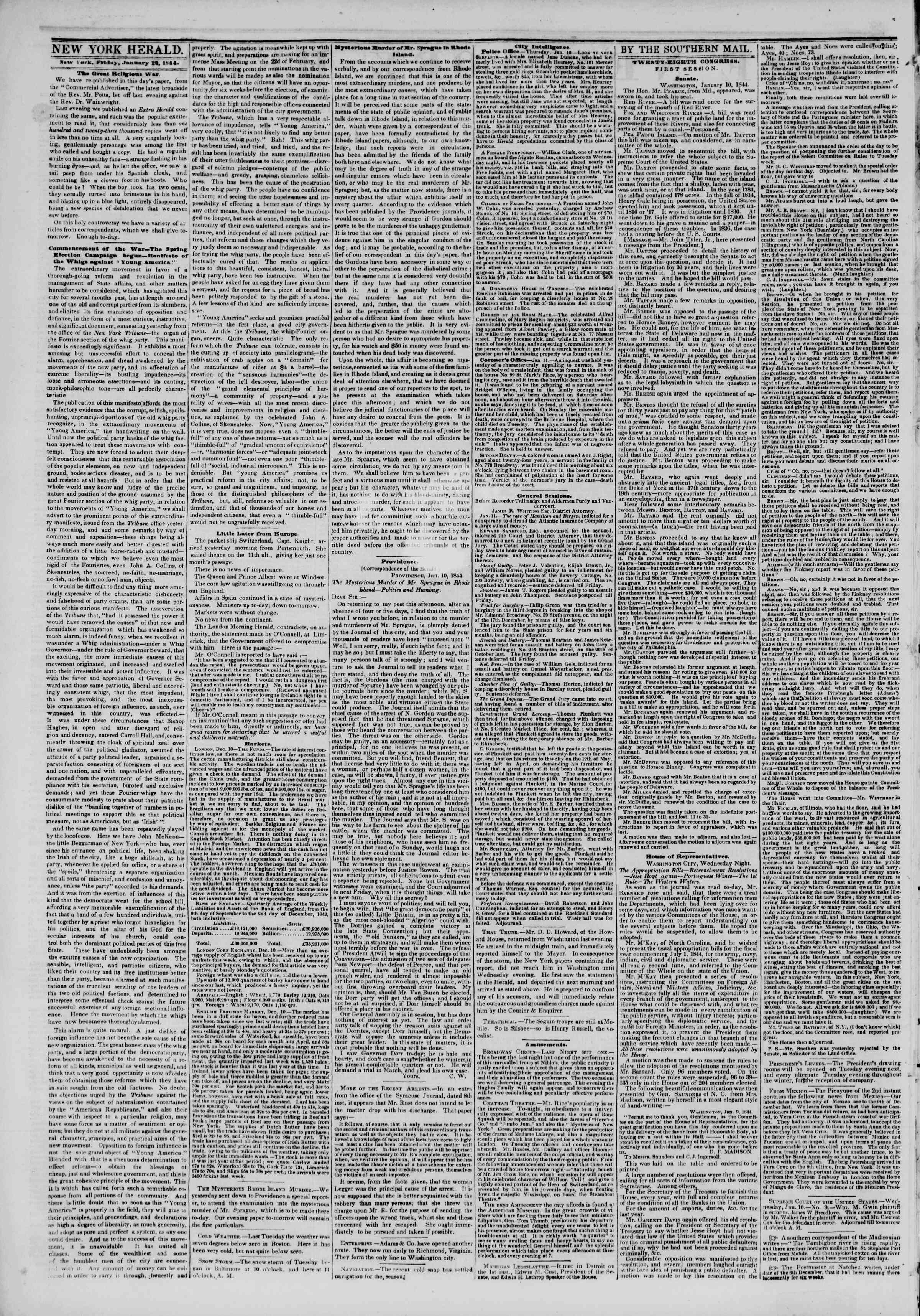 January 12, 1844 Tarihli The New York Herald Gazetesi Sayfa 2