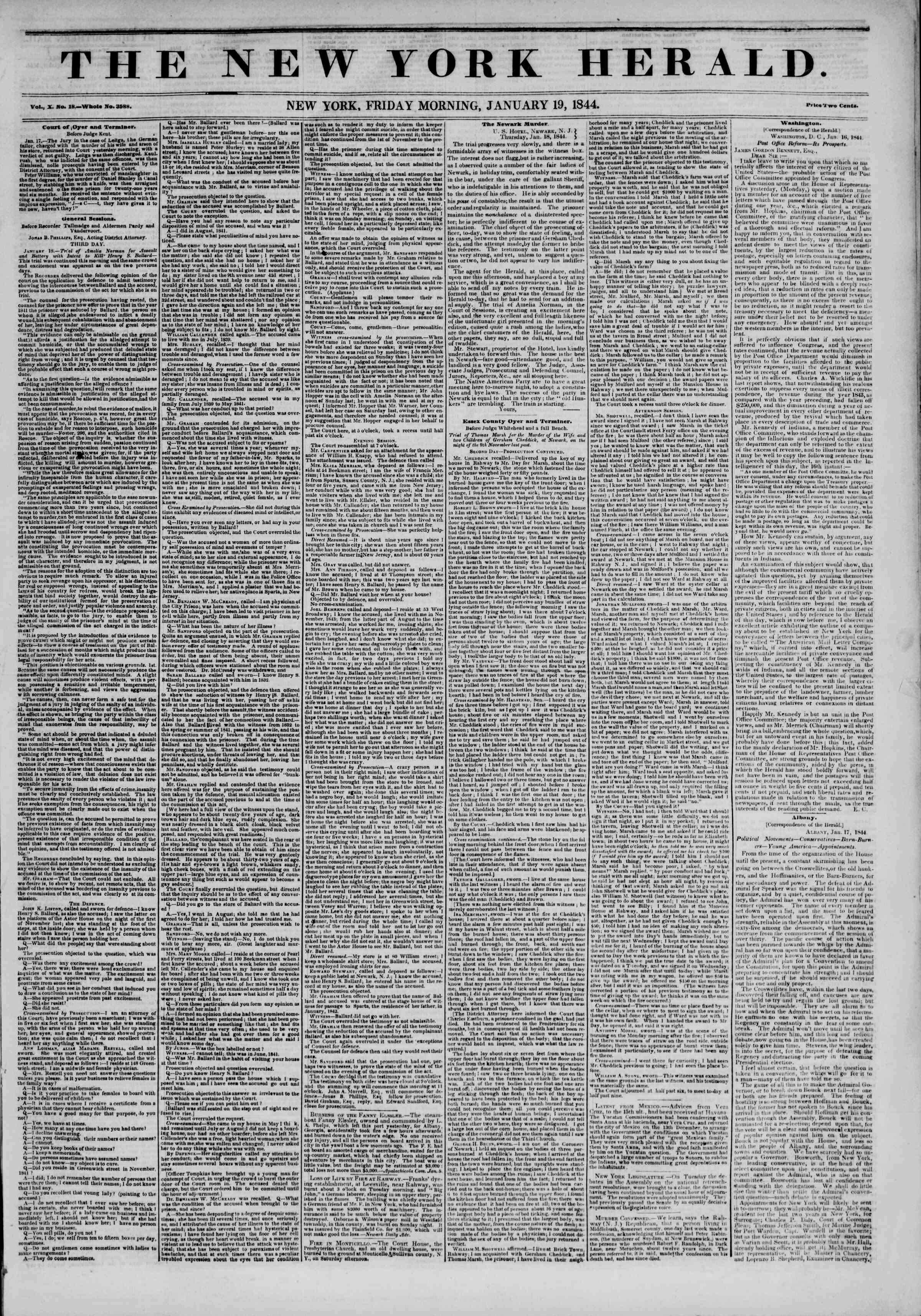 January 19, 1844 Tarihli The New York Herald Gazetesi Sayfa 1