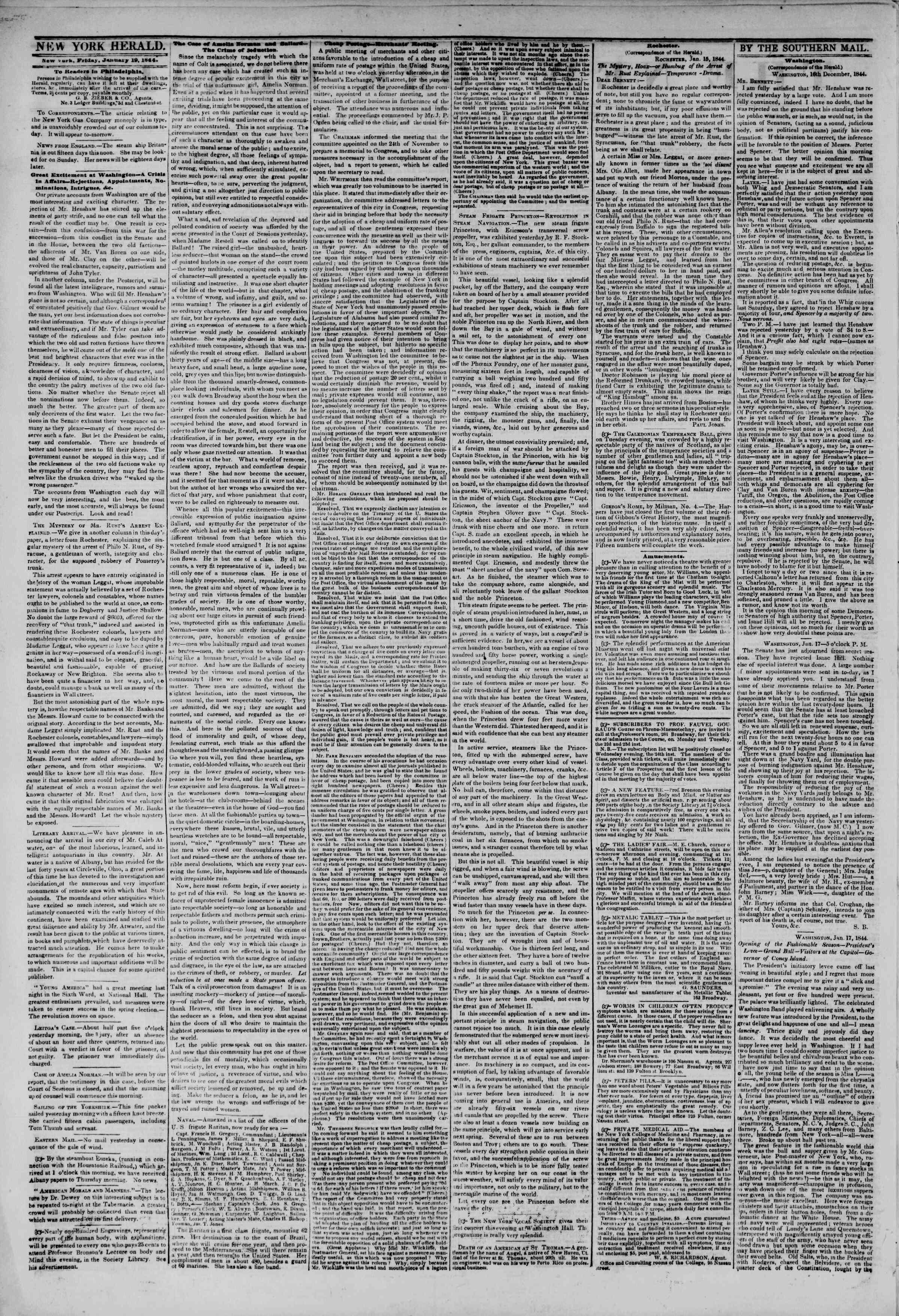 January 19, 1844 Tarihli The New York Herald Gazetesi Sayfa 2